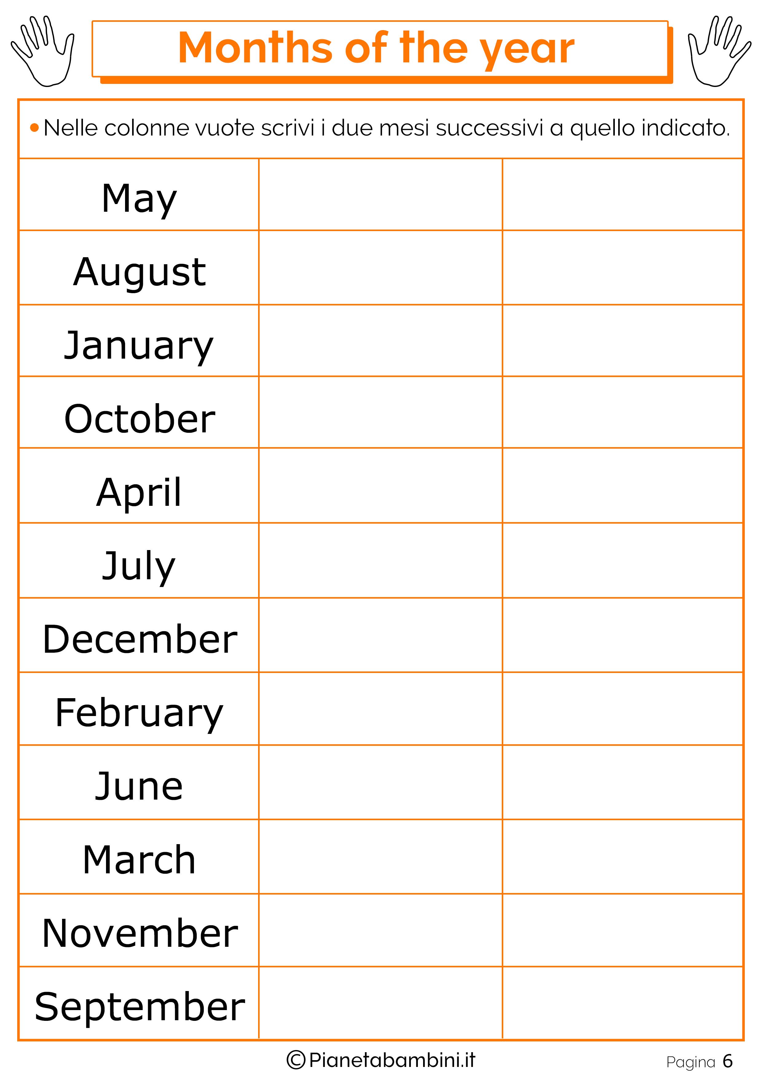 Esercizio sui mesi in inglese 06