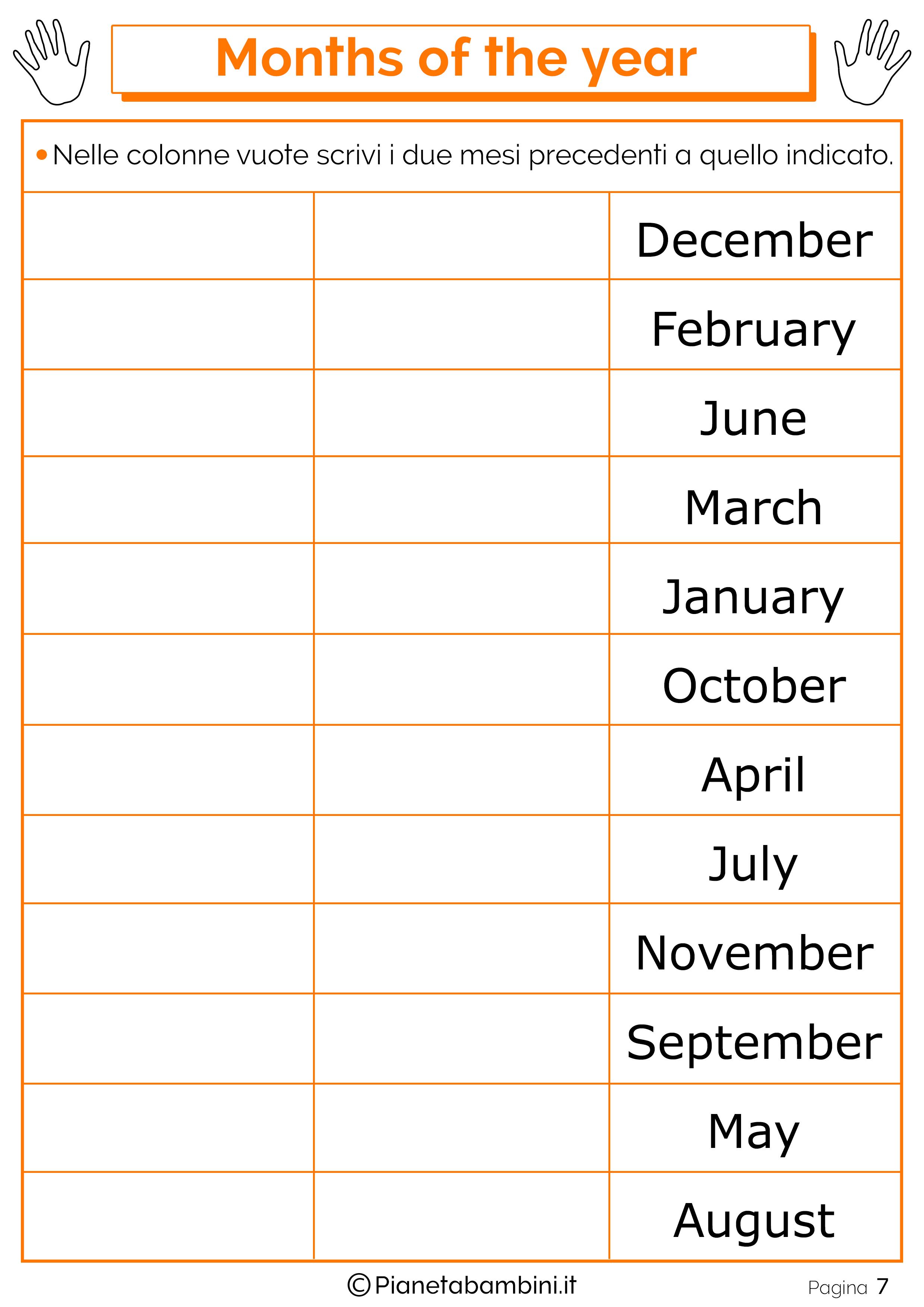 Esercizio sui mesi in inglese 07