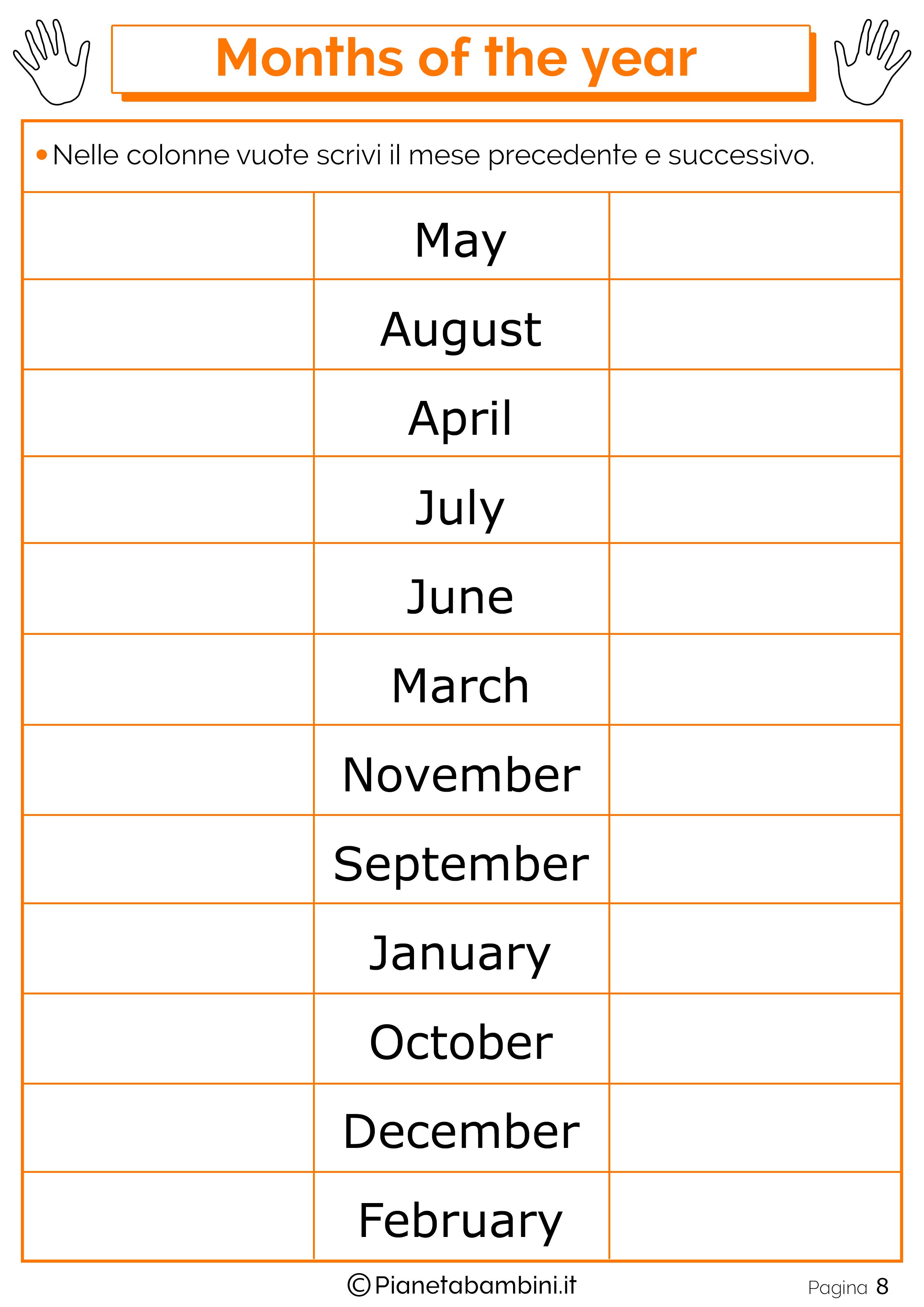 Esercizio sui mesi in inglese 08