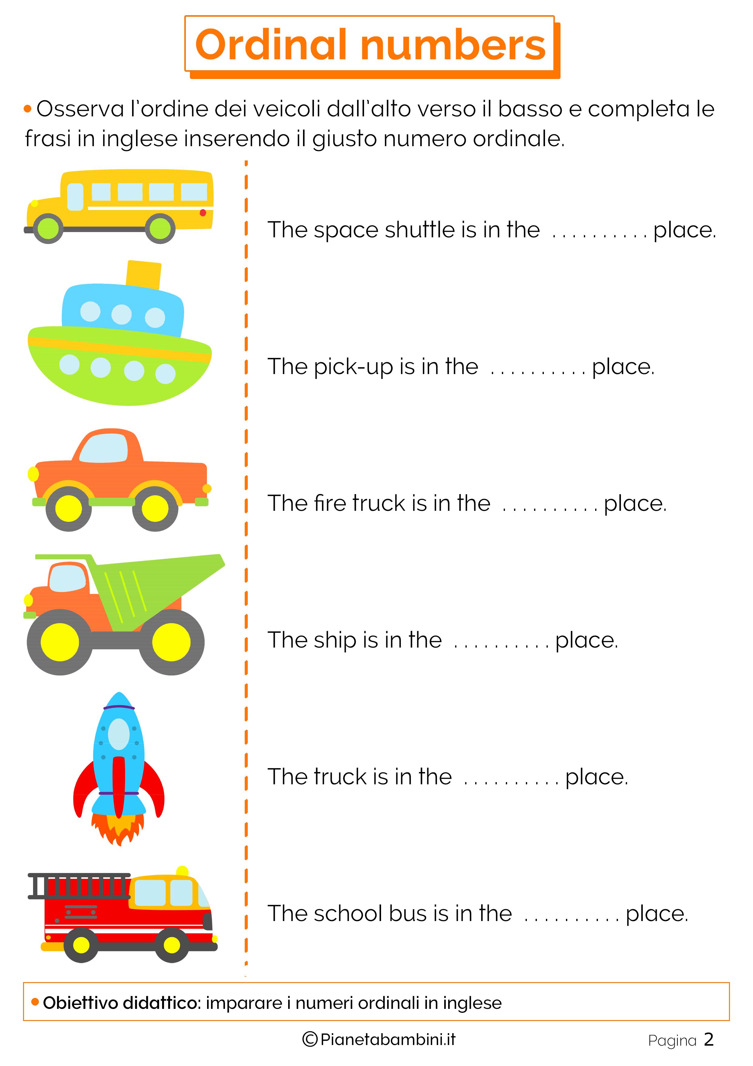 Scheda didattica sui numeri ordinali in inglese numero 02