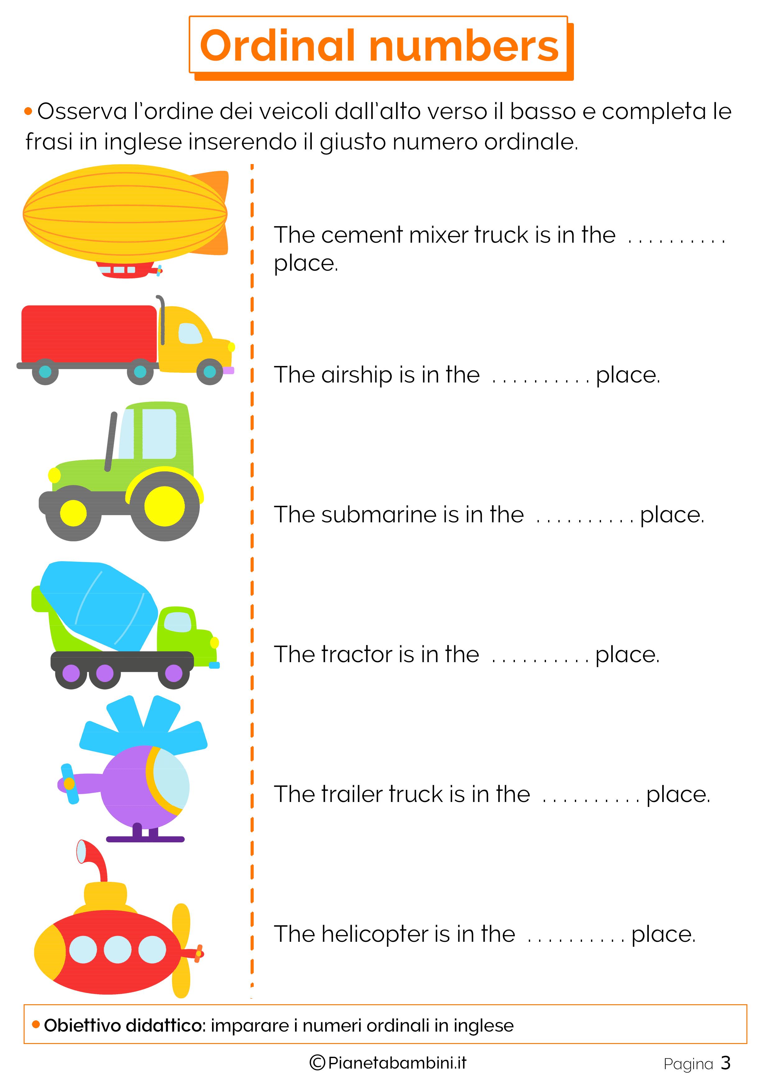 I numeri ordinali in inglese per bambini schede - Immagini in francese per bambini ...