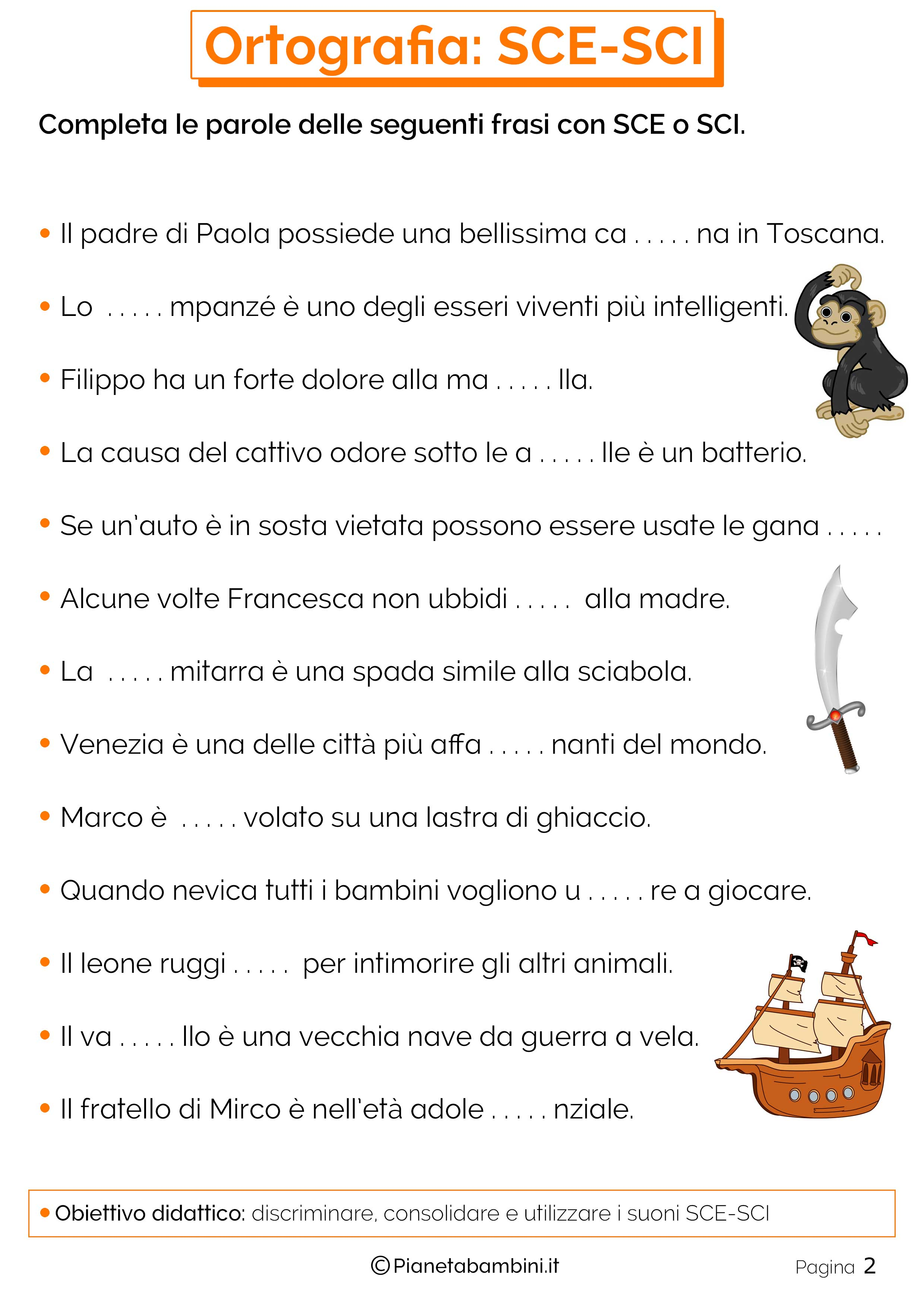 schede didattiche seconda elementare italiano da stampare
