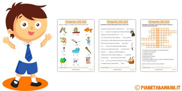 Schede didattiche su SCE-SCI per bambini della scuola primaria