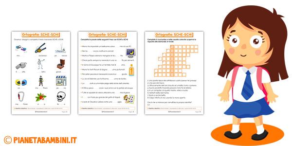 Schede didattiche su SCHE e SCHI per bambini della scuola primaria
