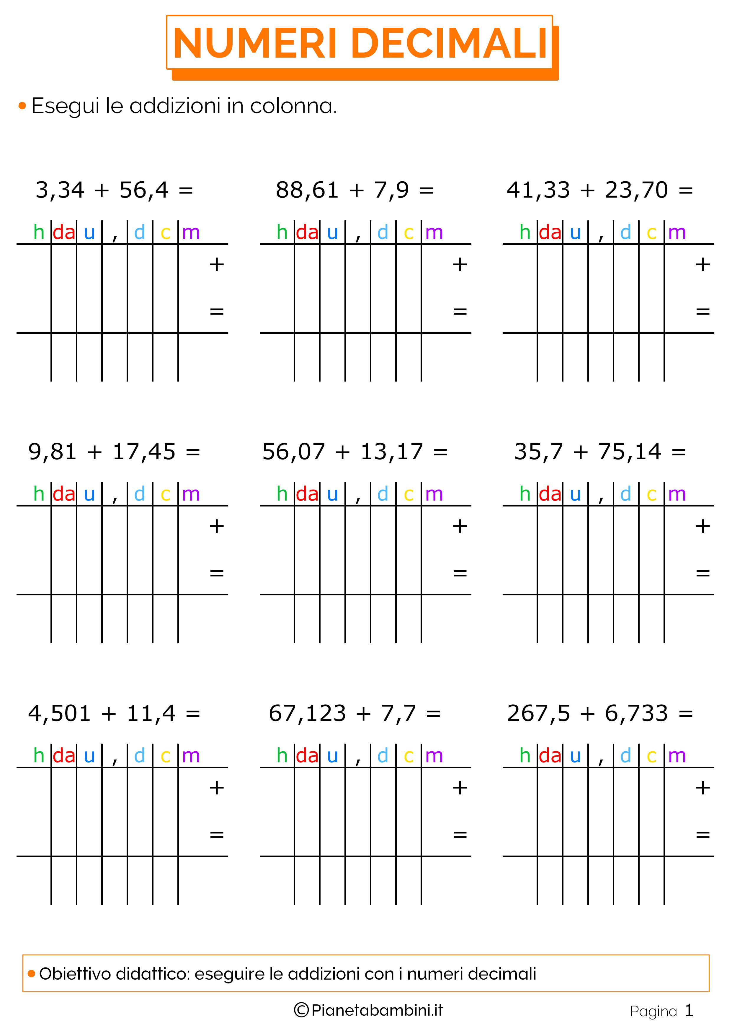 Popolare Esercizi sulle Addizioni in Colonna con i Numeri Decimali  BA37