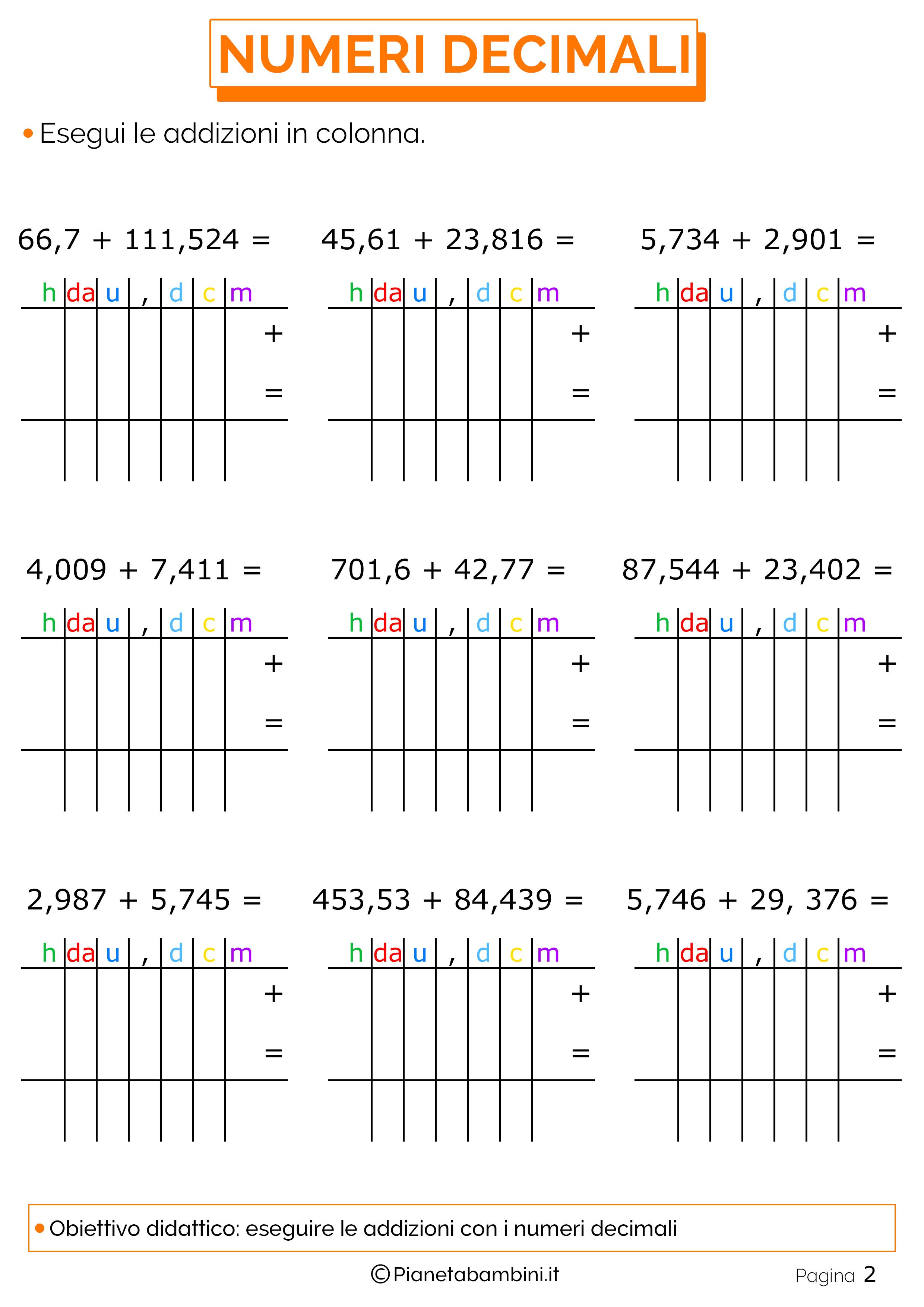 Esercizi sulle addizioni con i numeri decimali 2