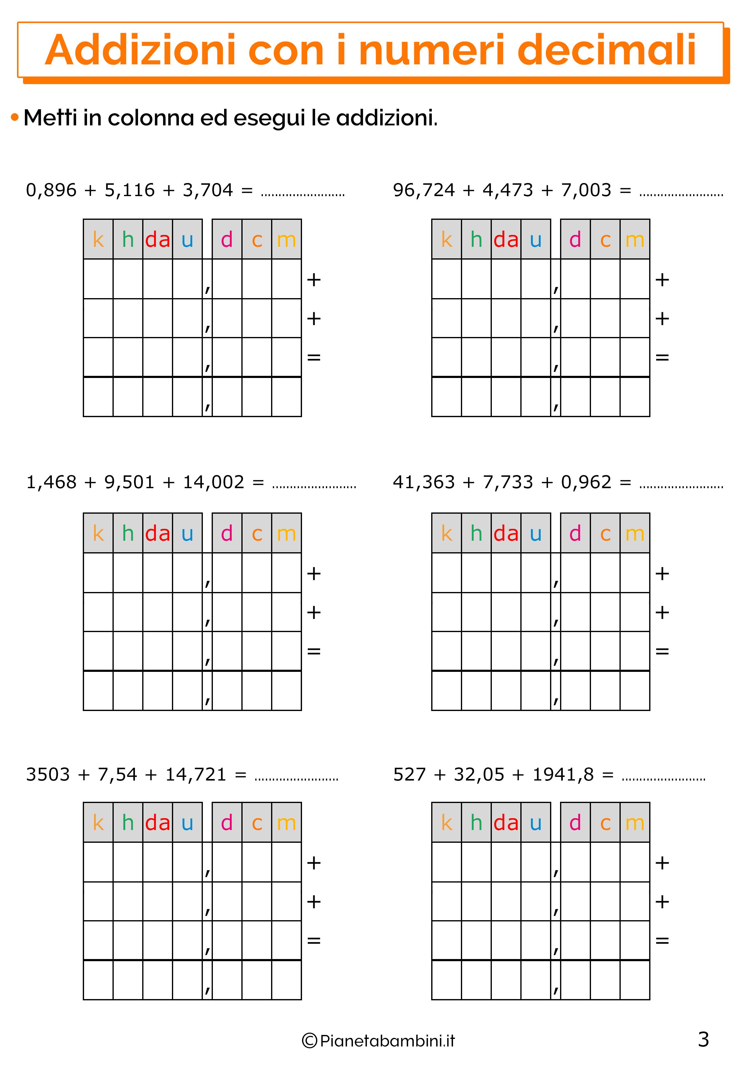 Esercizi sulle addizioni con i numeri decimali 3