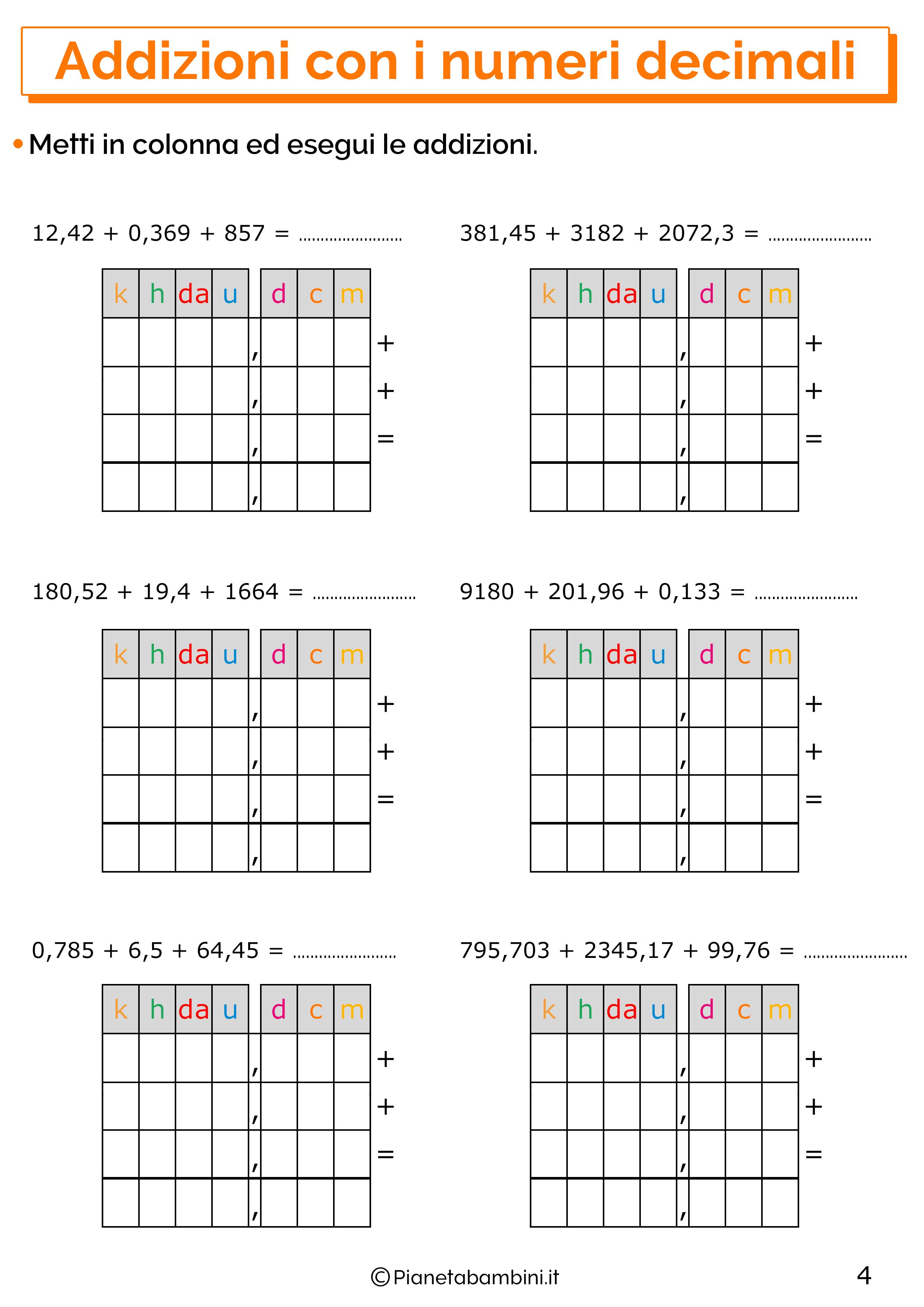 Esercizi sulle addizioni con i numeri decimali 4