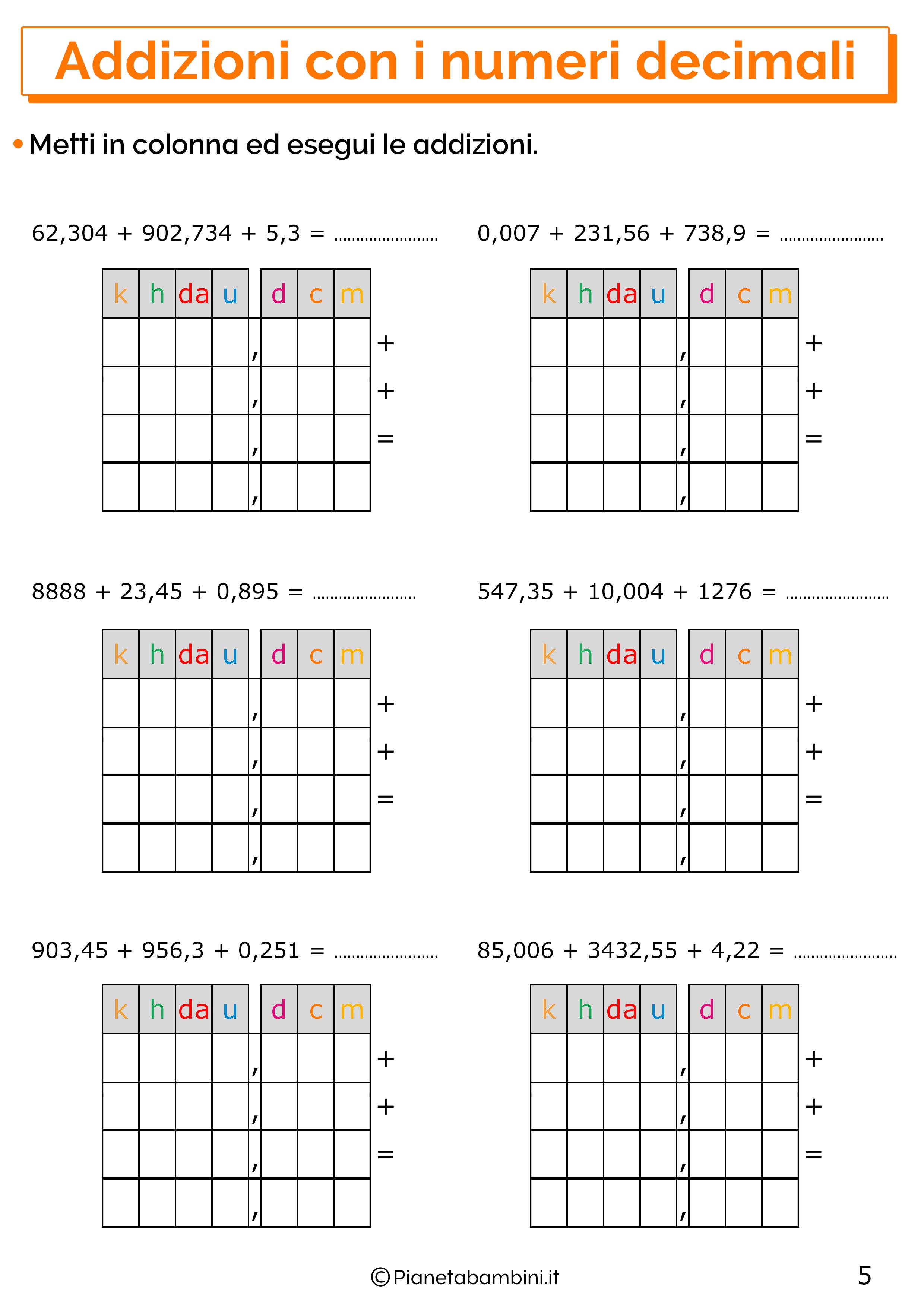 Esercizi sulle addizioni con i numeri decimali 5