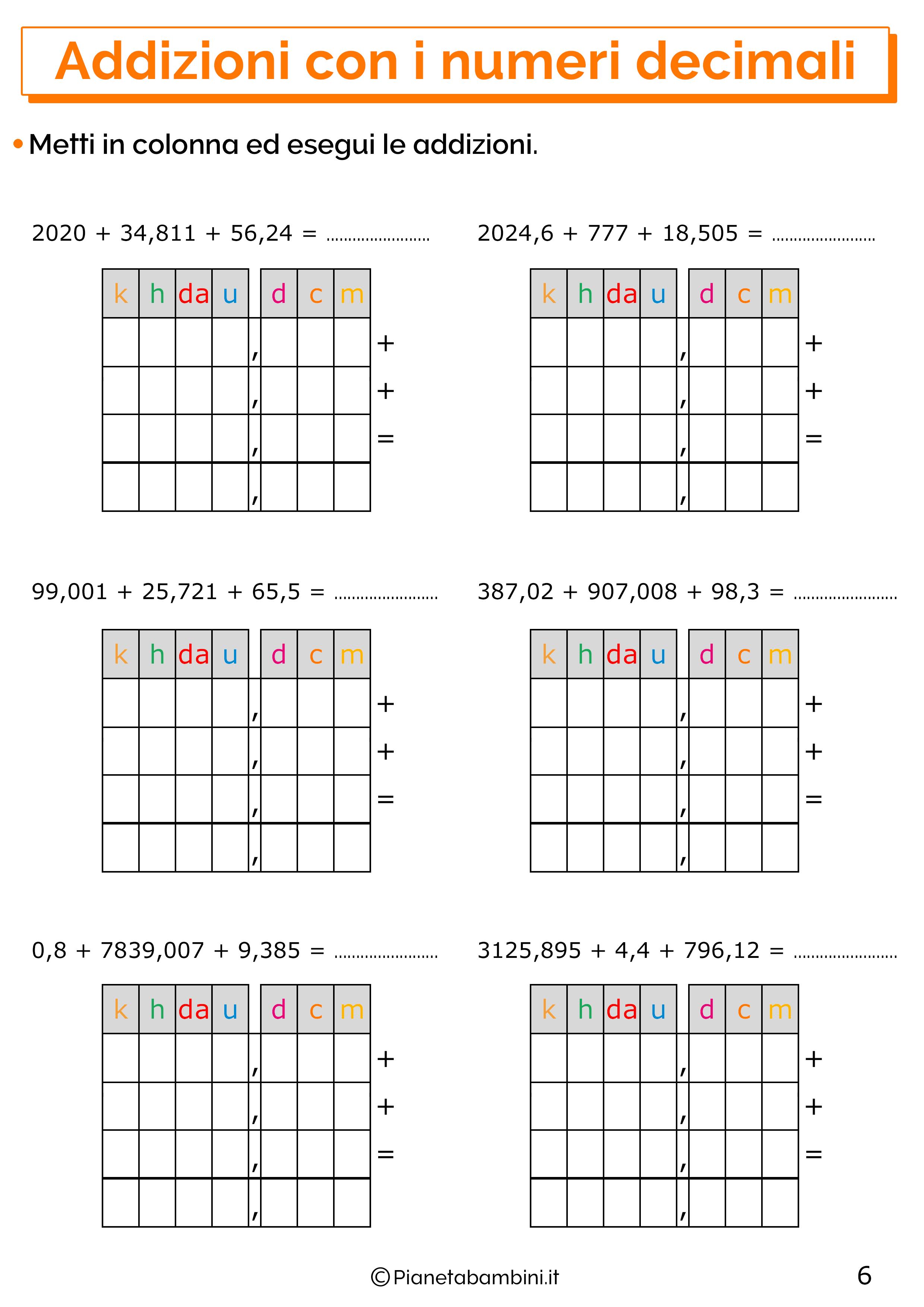 Esercizi sulle addizioni con i numeri decimali 6