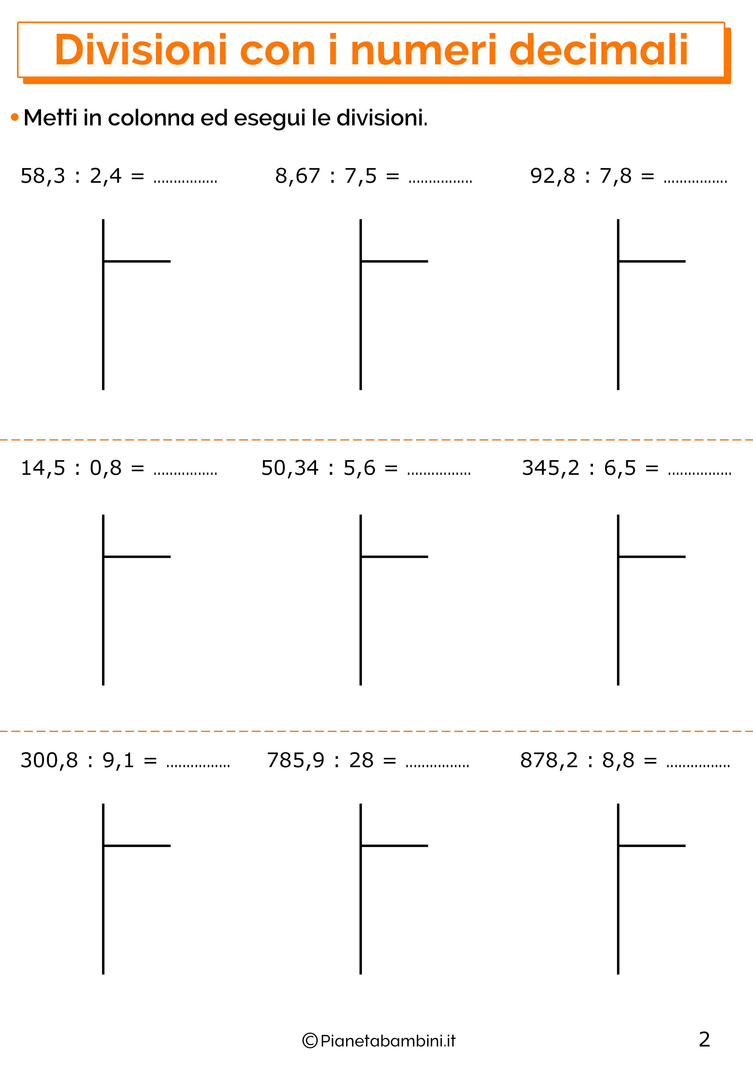 Esercizi sulle divisioni con i numeri decimali 2
