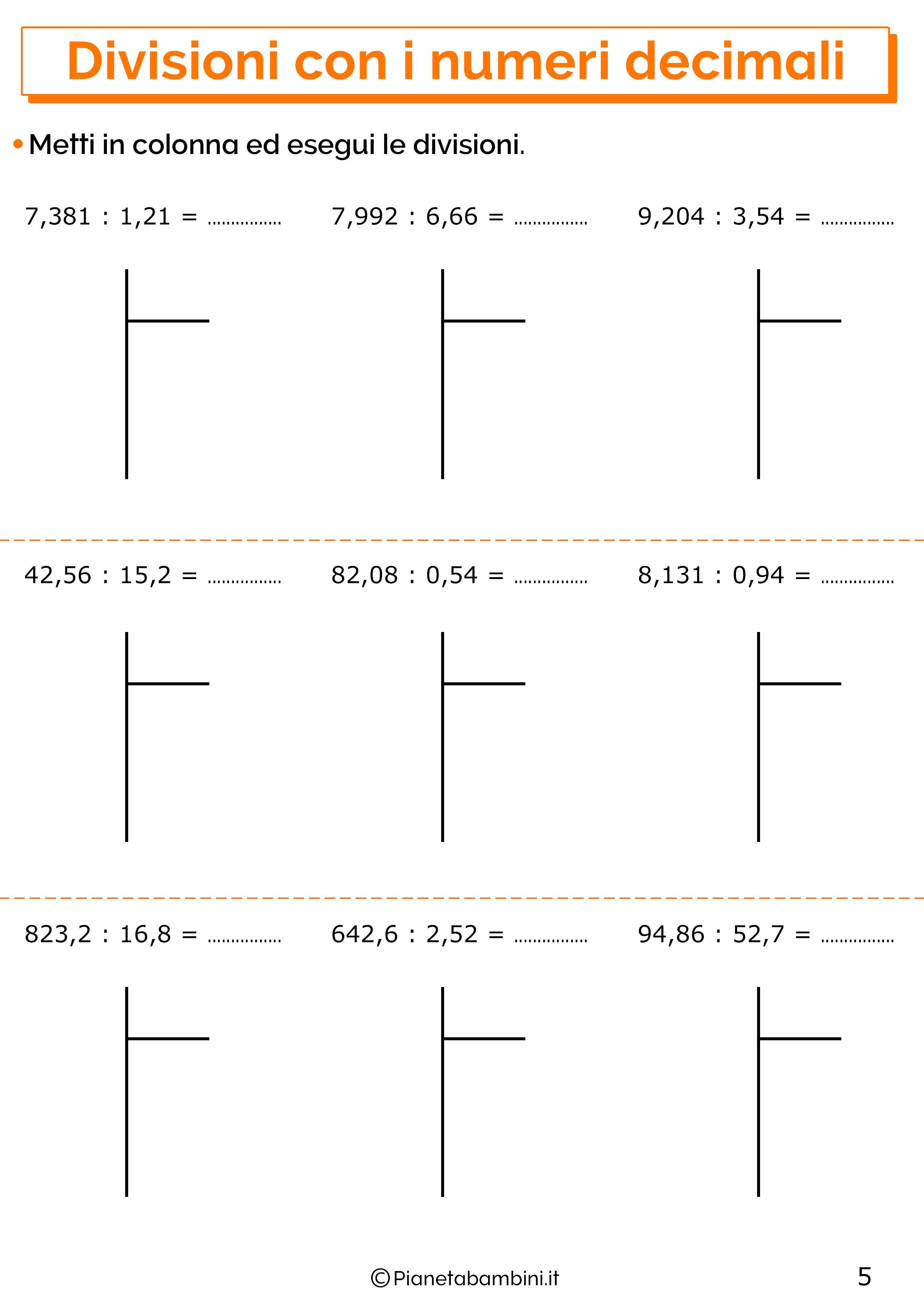 Esercizi sulle divisioni con i numeri decimali 5