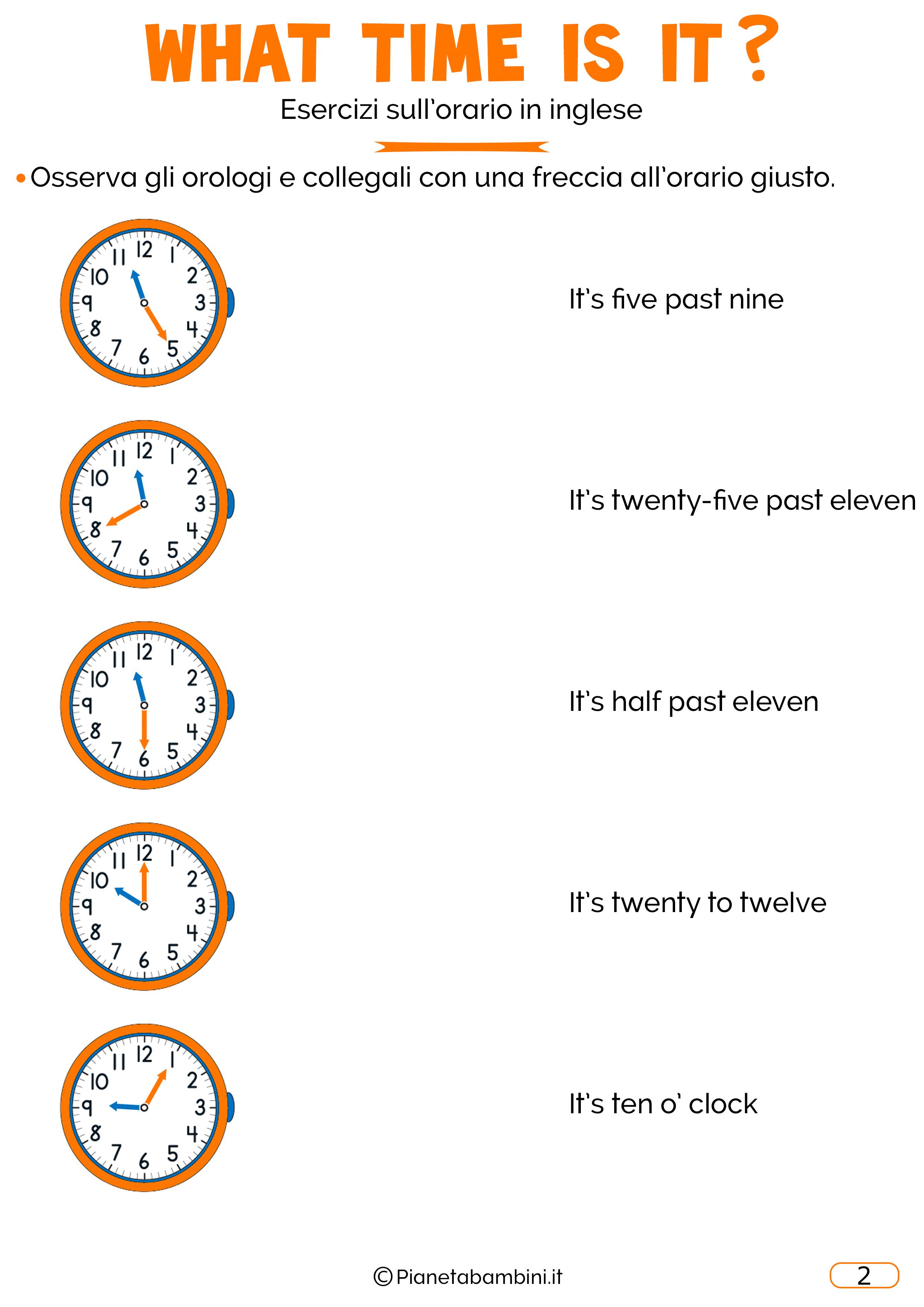 Scheda didattica sull'orario in inglese 02
