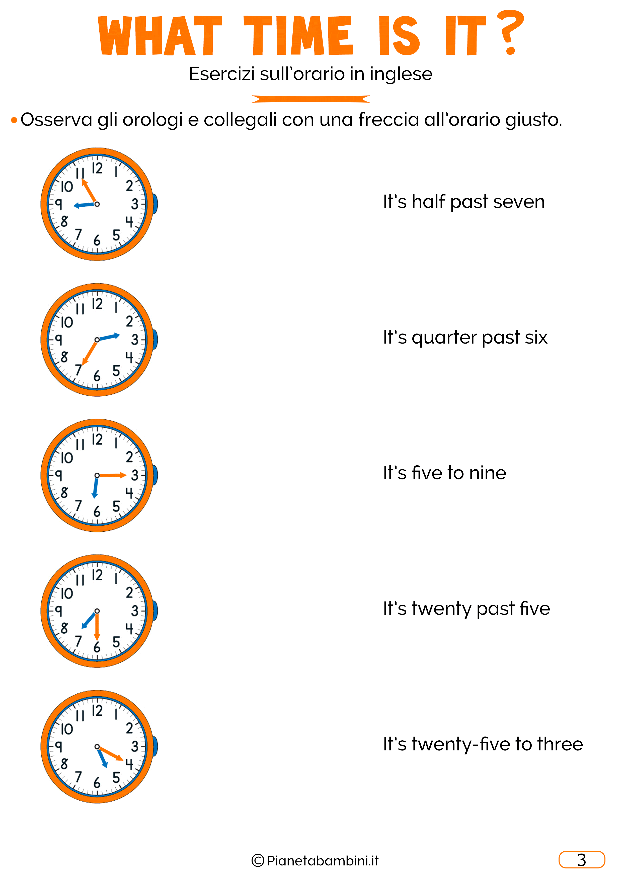 Scheda didattica sull'orario in inglese 03