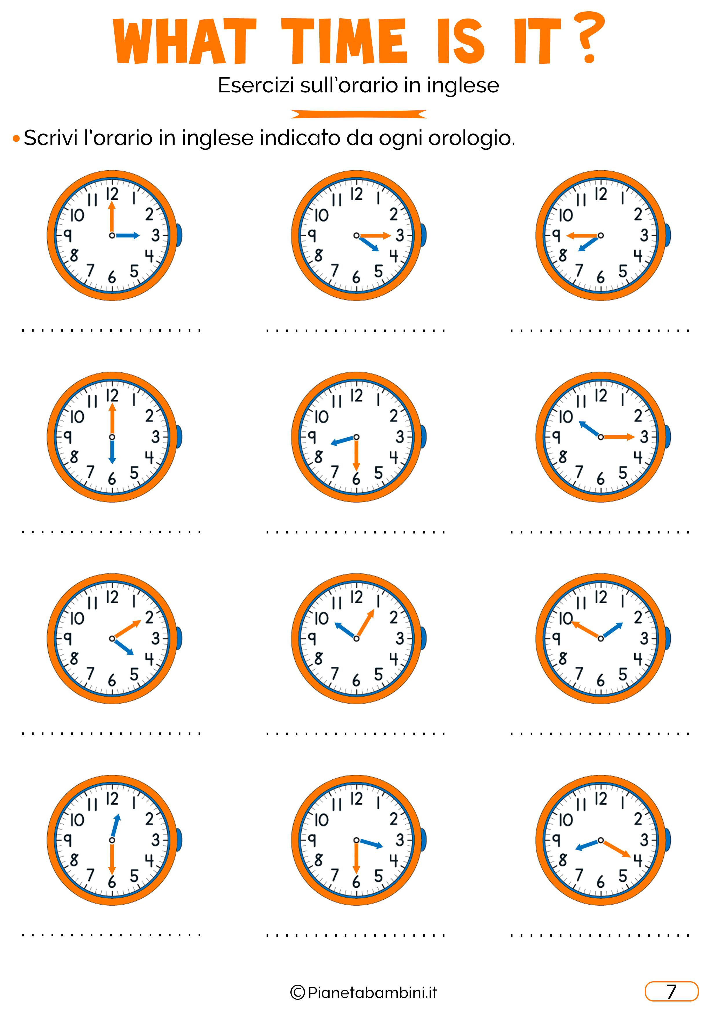 Scheda didattica sull'orario in inglese 07