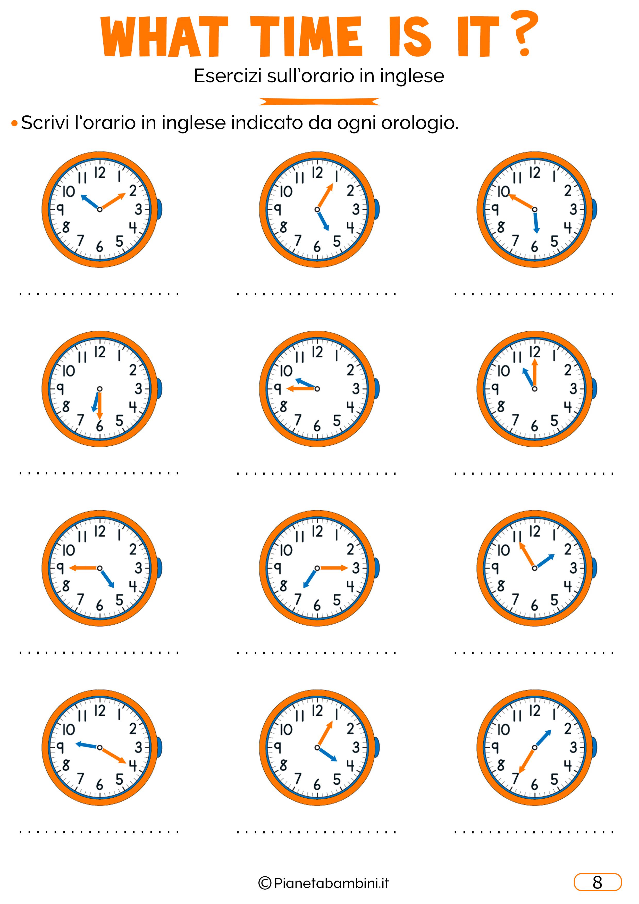 Scheda didattica sull'orario in inglese 08