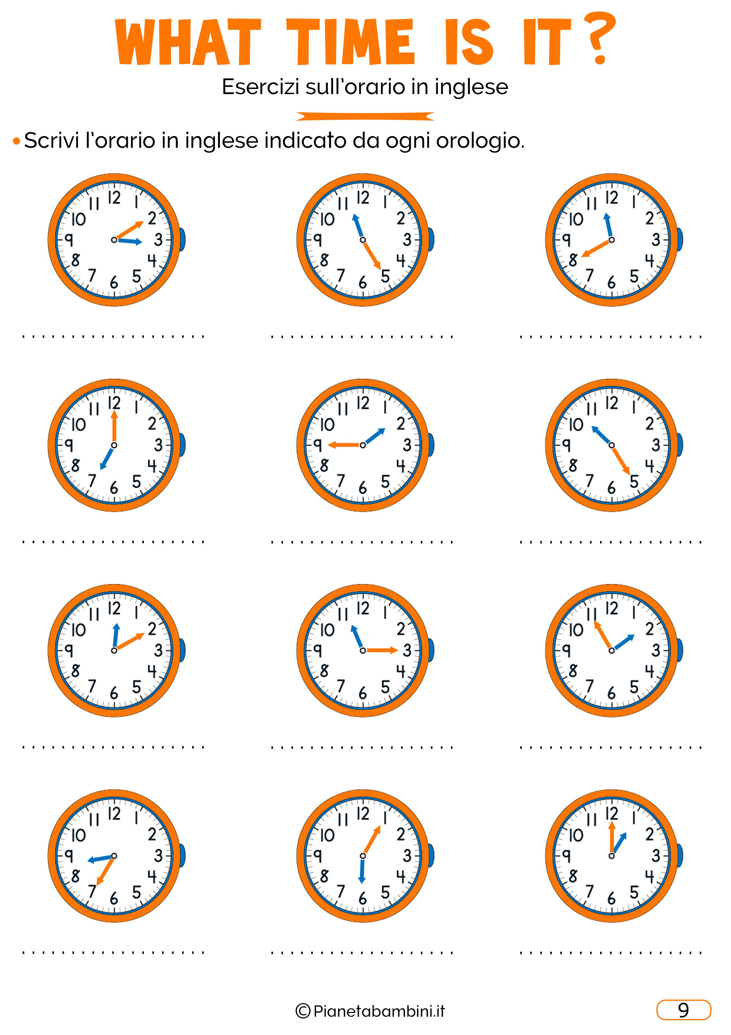 Scheda didattica sull'orario in inglese 09