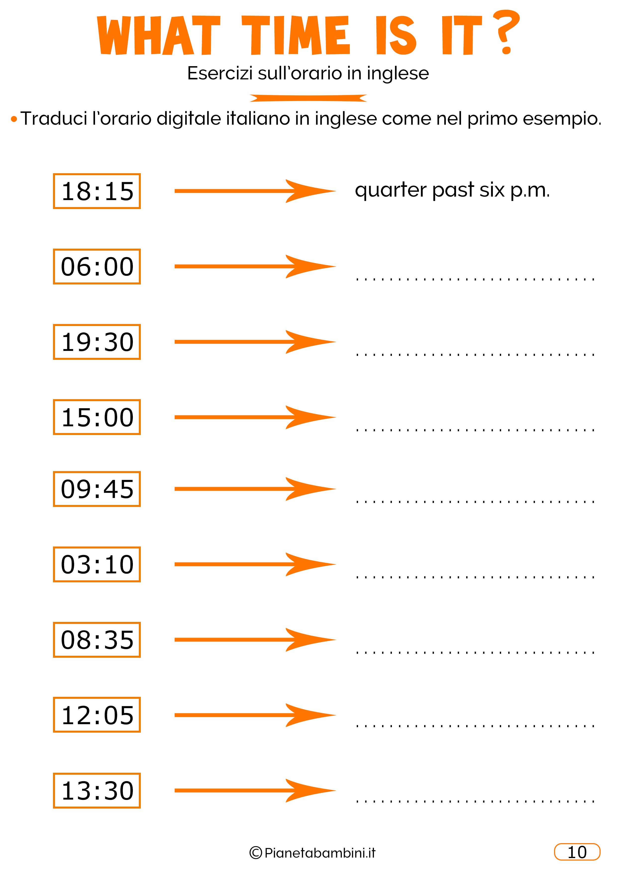 Scheda didattica sull'orario in inglese 10