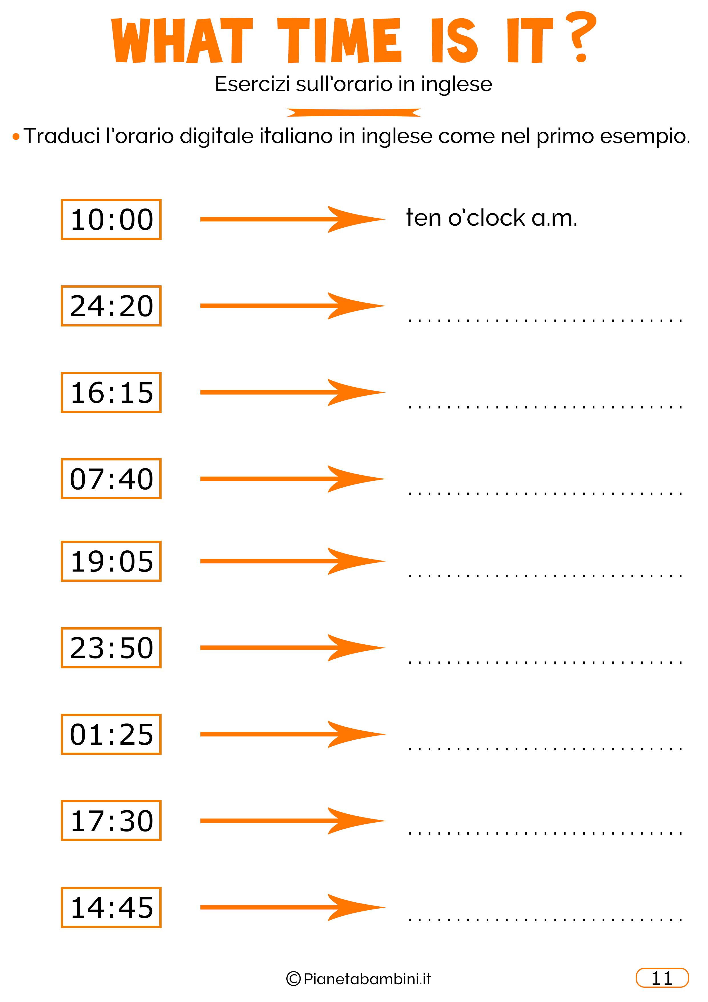 Lorario In Inglese Esercizi Per Bambini Da Stampare