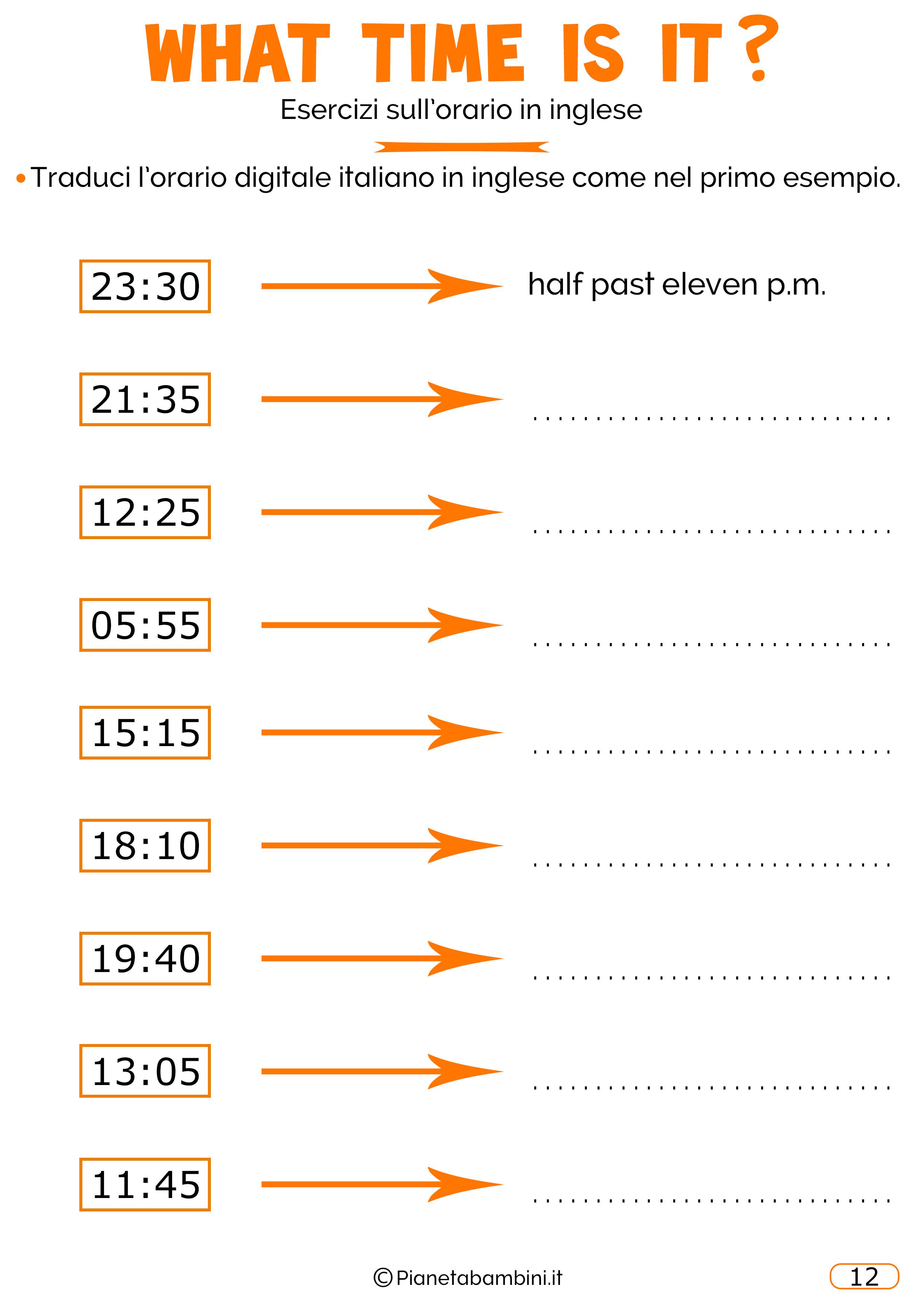 Scheda didattica sull'orario in inglese 12