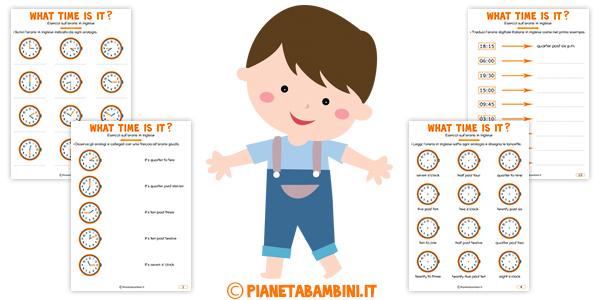 Super L'Orario in Inglese: Esercizi per Bambini da Stampare  VT08