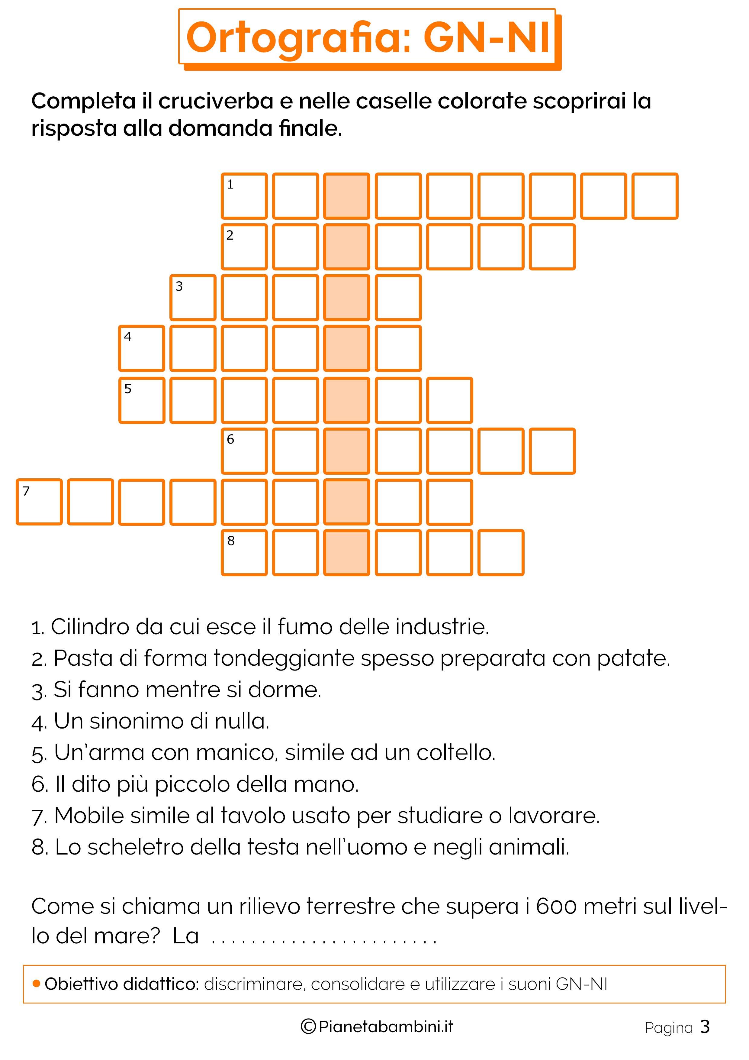 Favoloso Schede Didattiche su GN-NI da Stampare | PianetaBambini.it IJ03