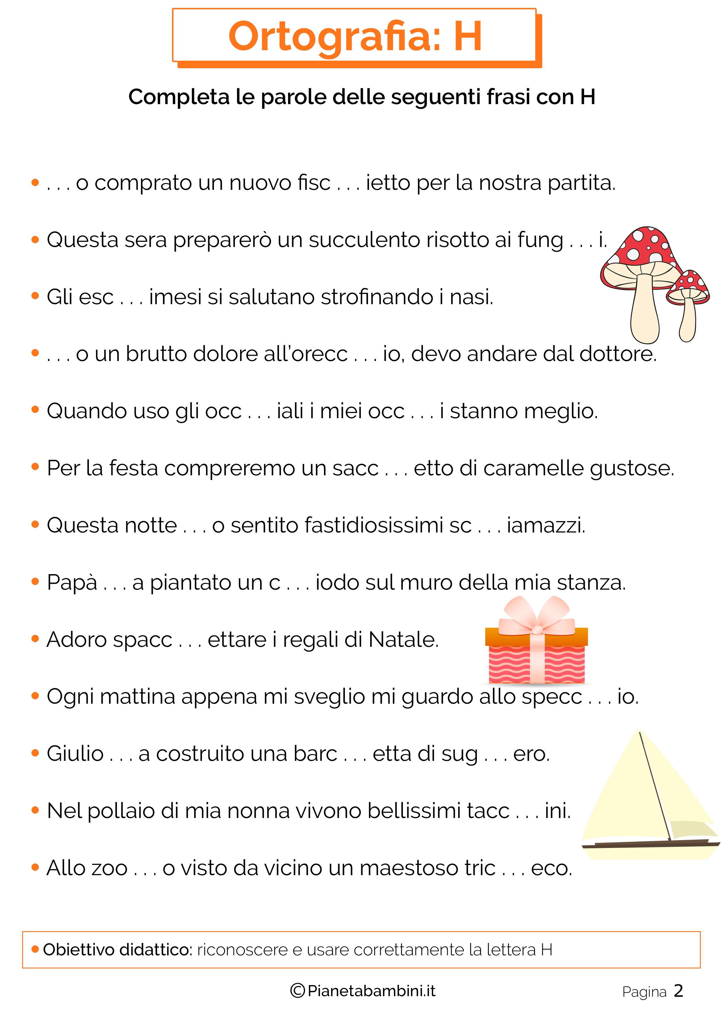 Conosciuto Schede Didattiche sull'H da Stampare | PianetaBambini.it BK74