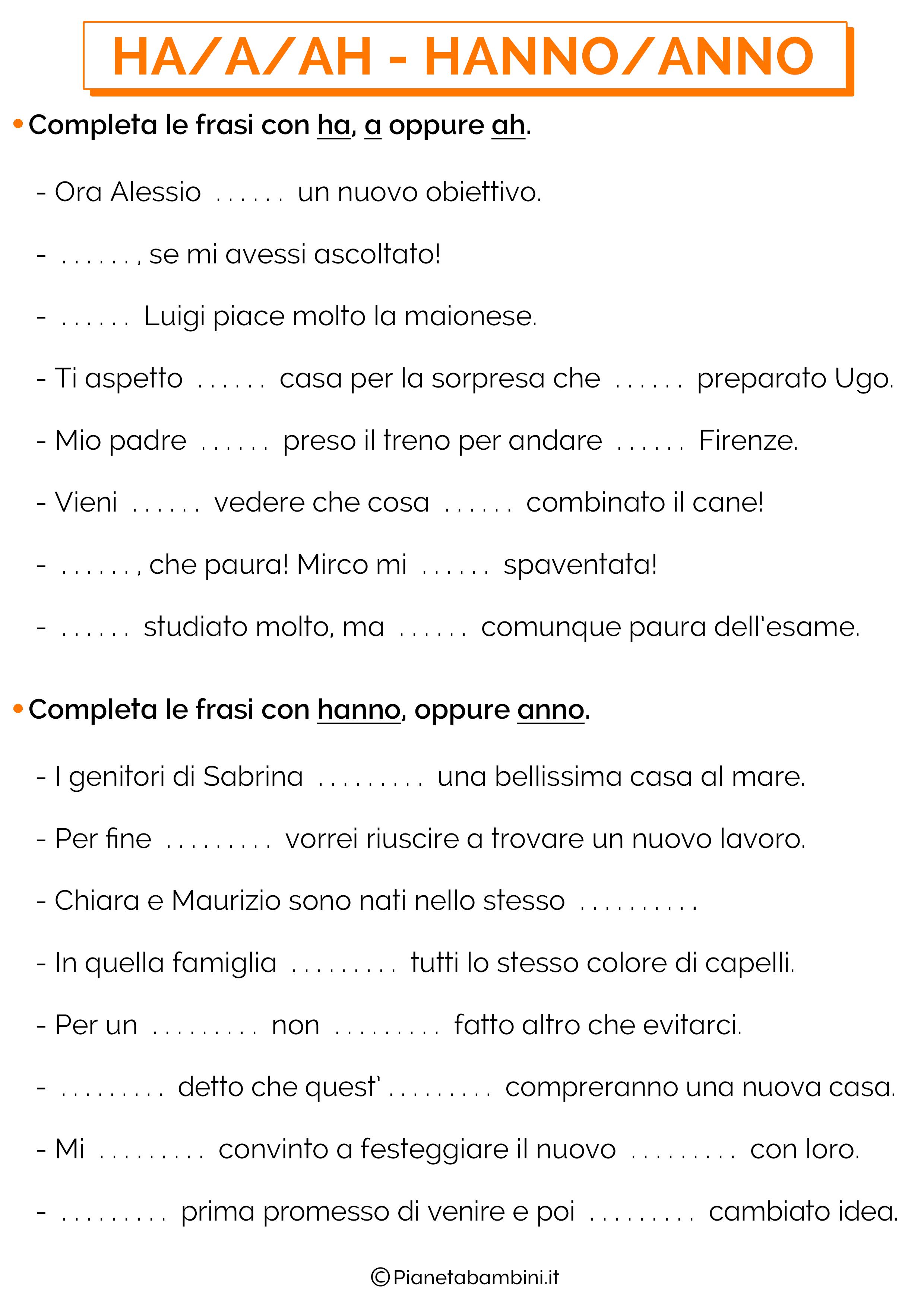 Scheda didattica su HA-A-AH e HANNO-ANNO