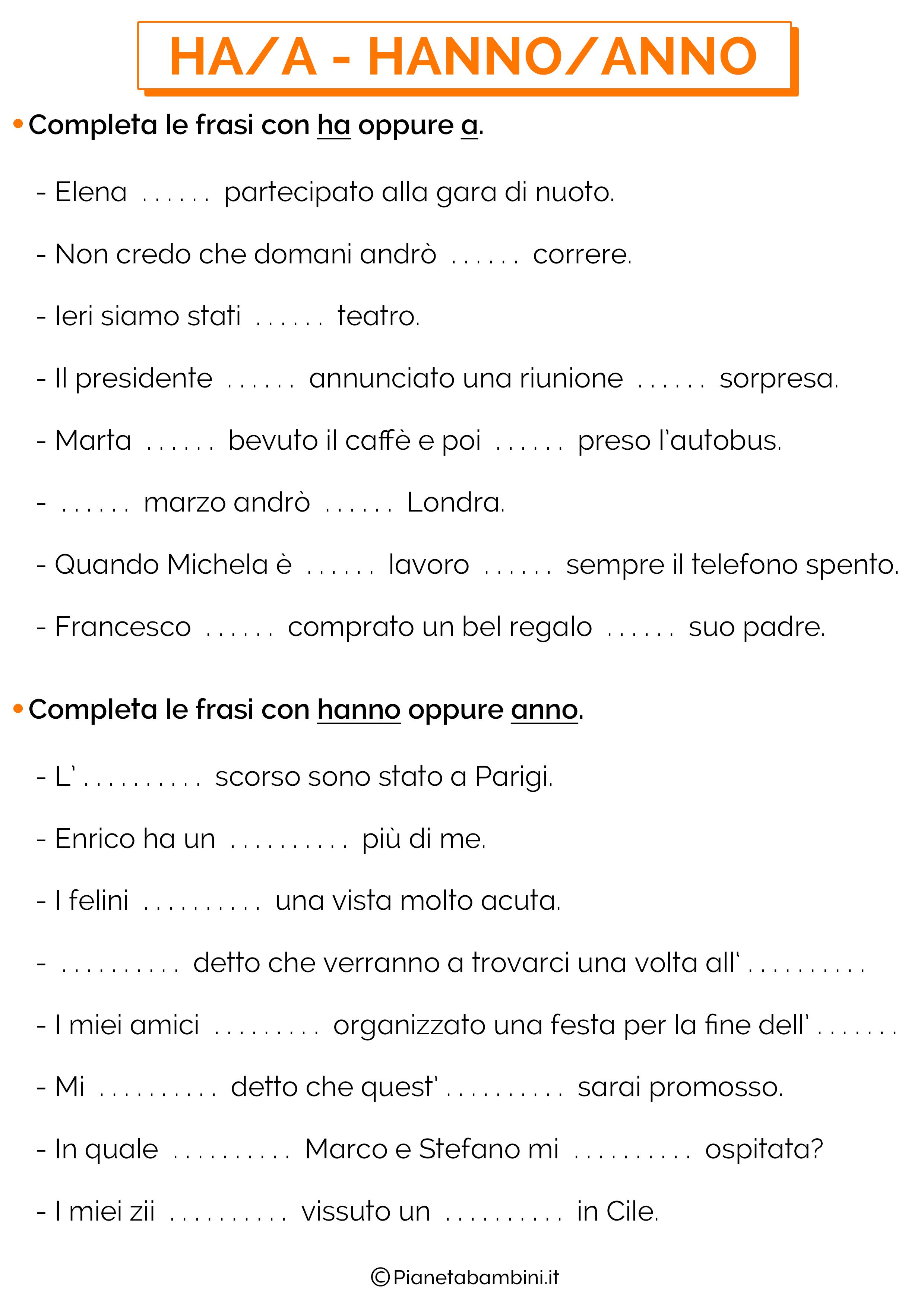 Scheda didattica su HA-A e HANNO-ANNO