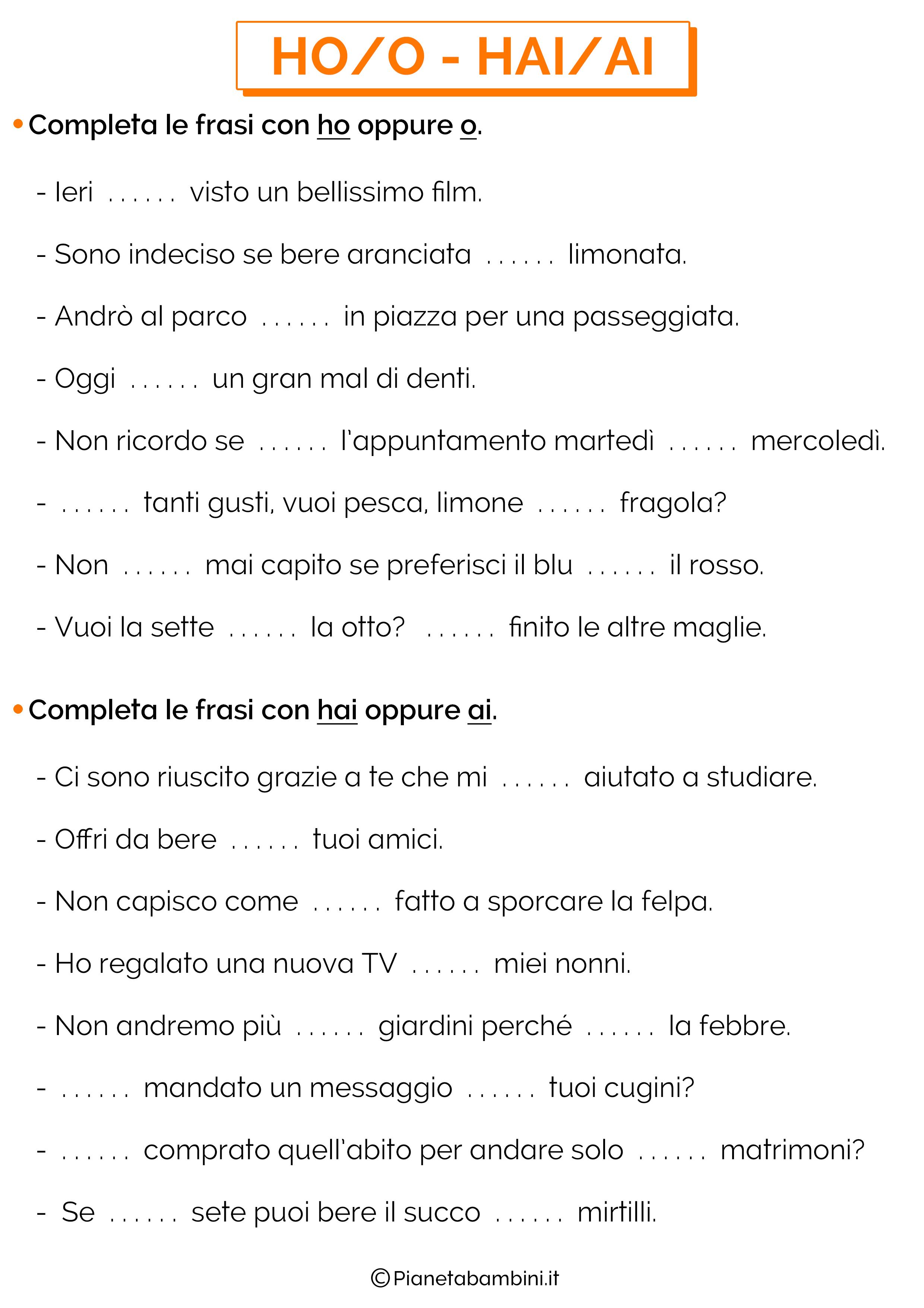 Scheda didattica su HO-O e HAI-AI