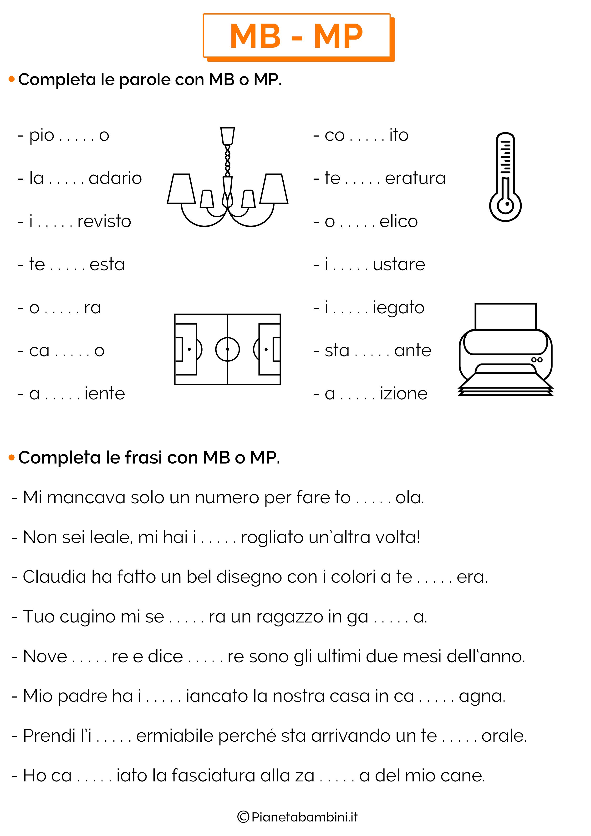 Parole e frasi da completare con MB o MP