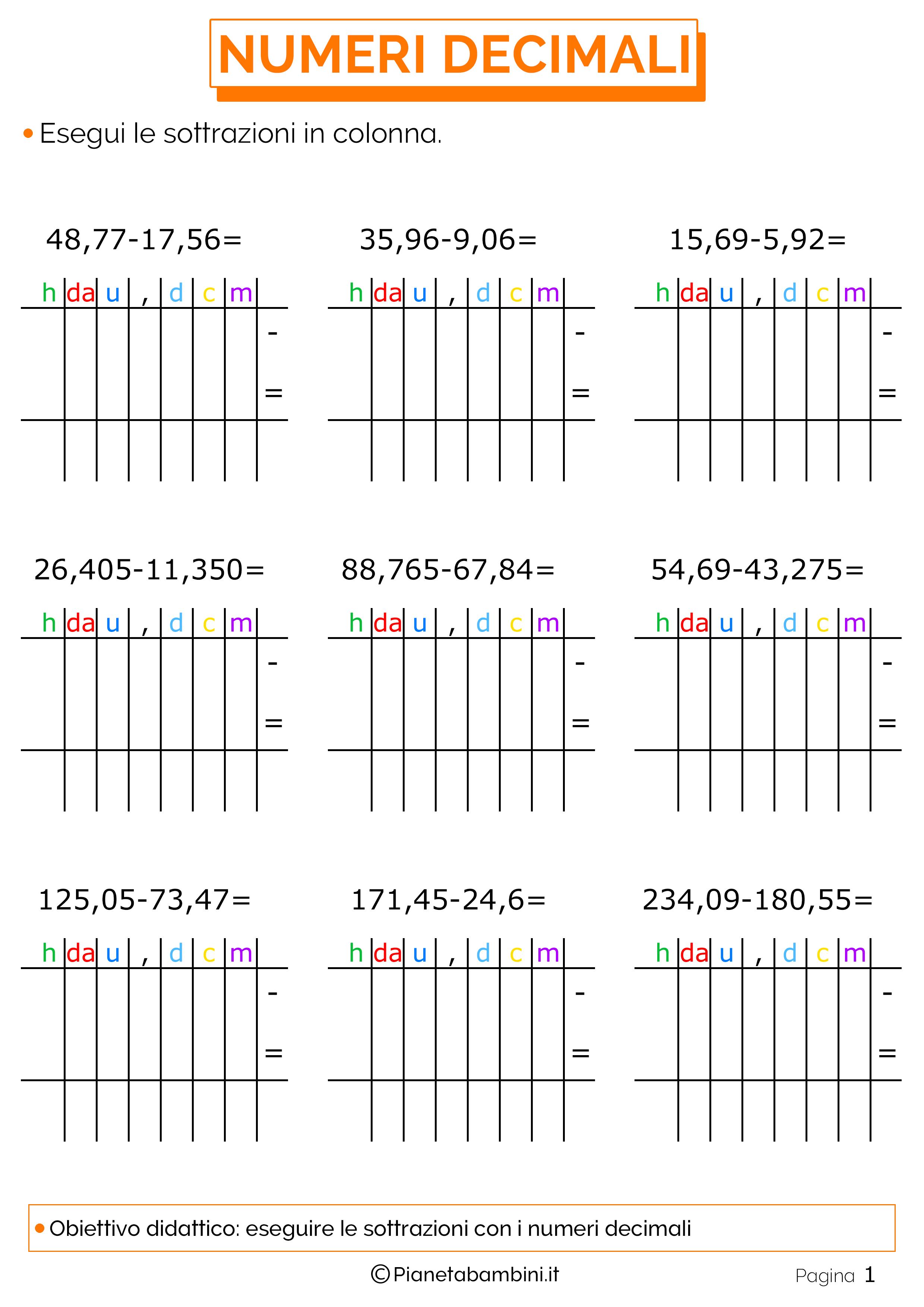 Top Esercizi sulle Sottrazioni in Colonna con i Numeri Decimali  GD18