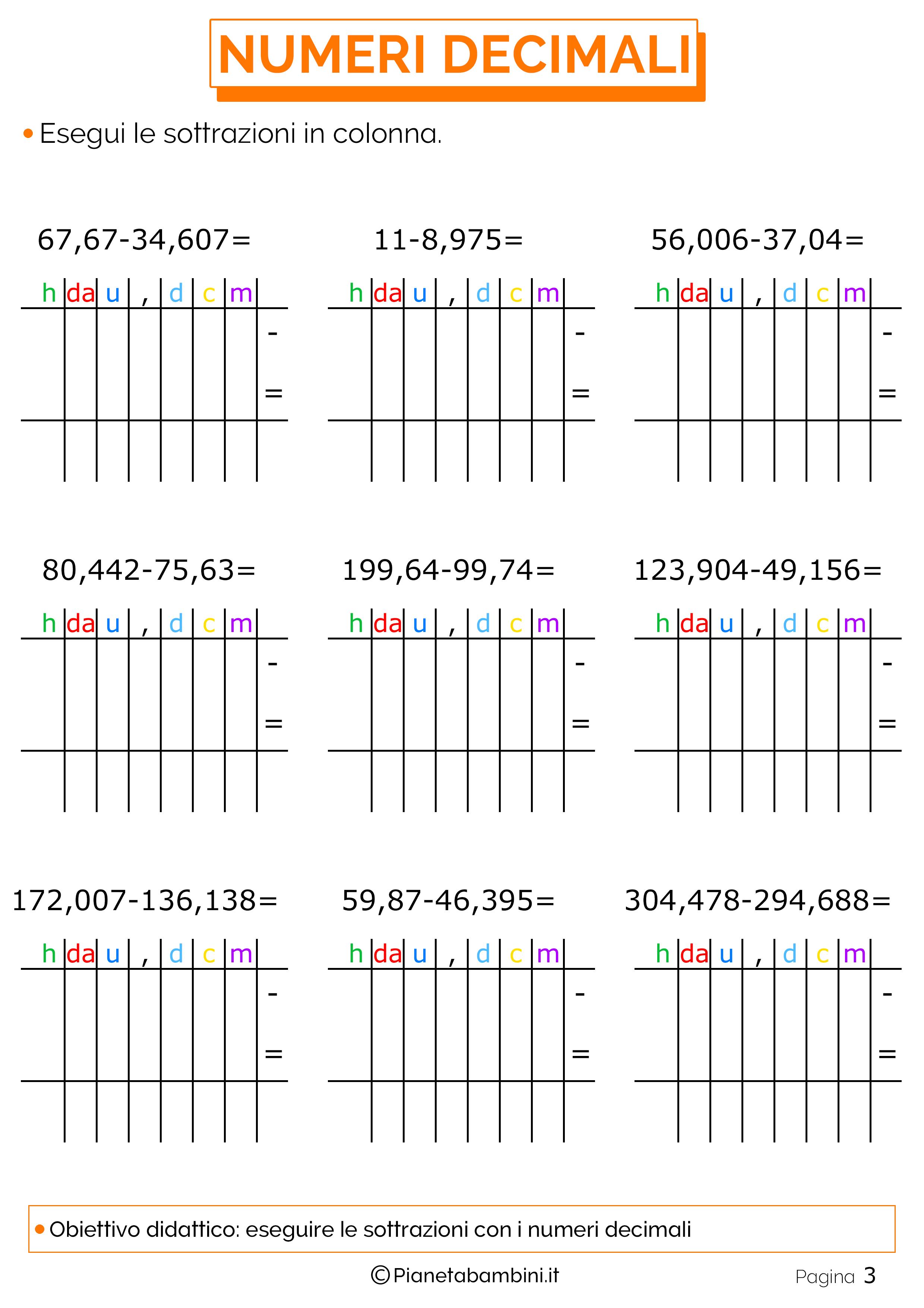 Esercizi sulle sottrazioni con i numeri decimali 3
