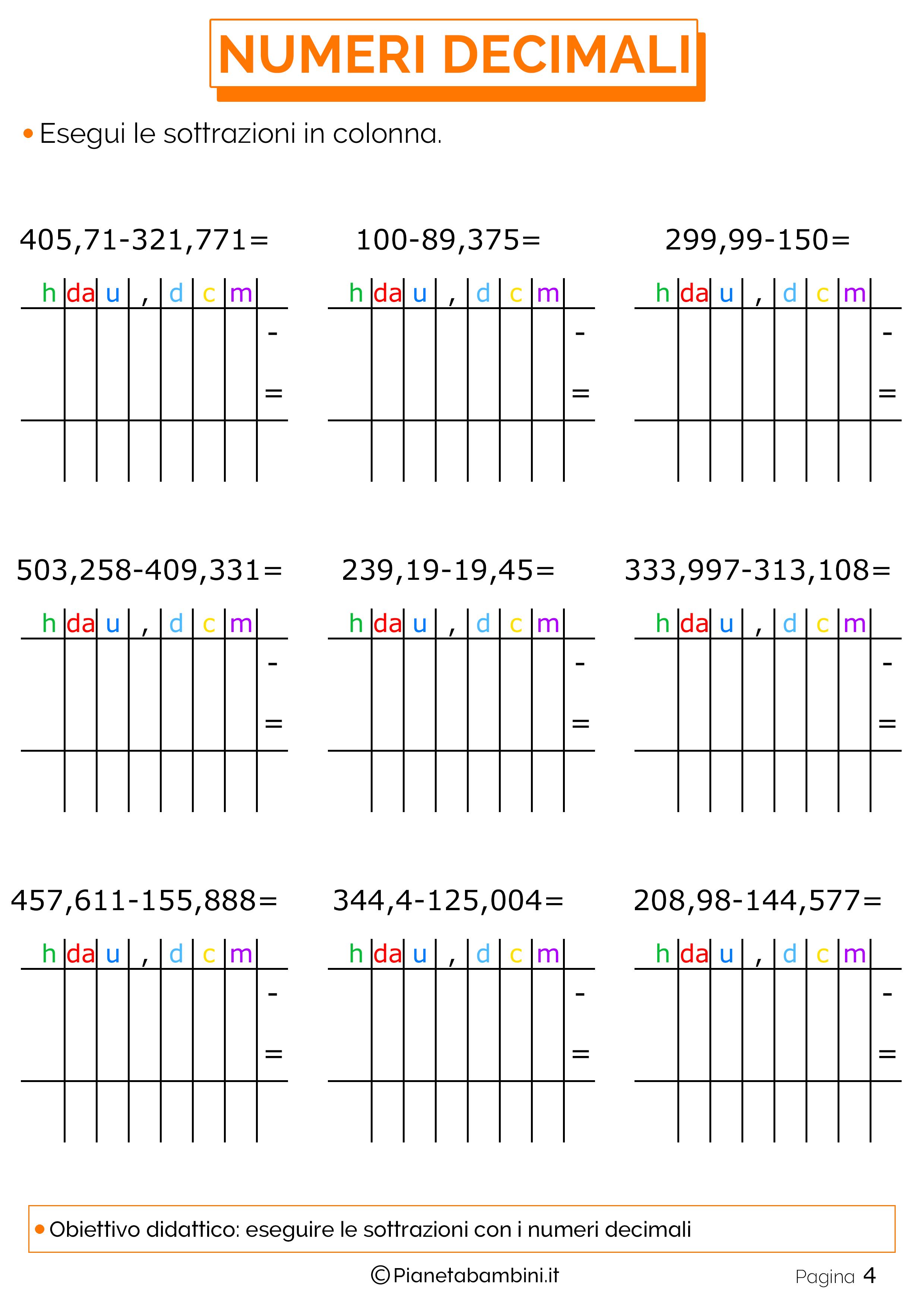 Esercizi sulle sottrazioni con i numeri decimali 4