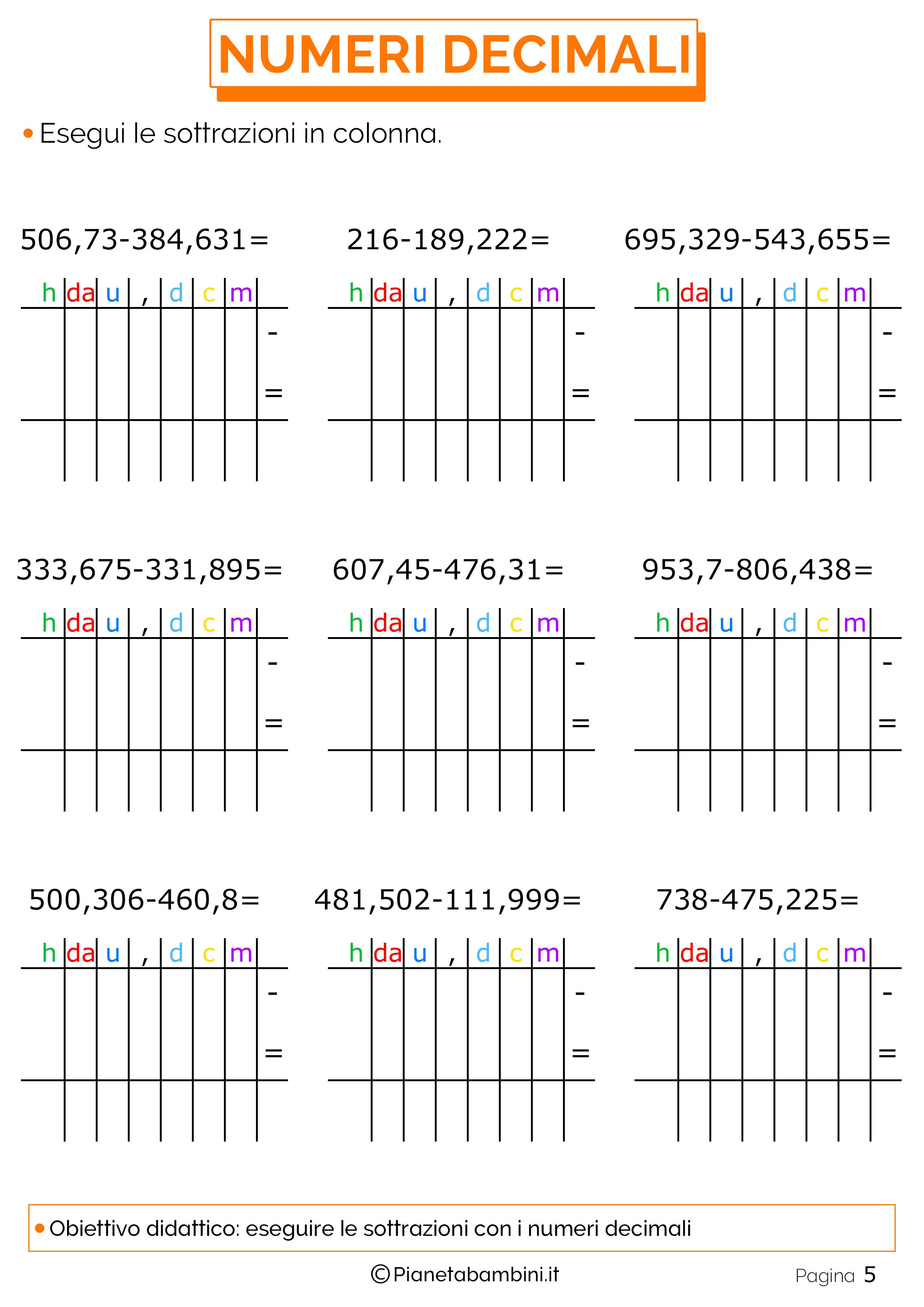 Esercizi sulle sottrazioni in colonna con i numeri