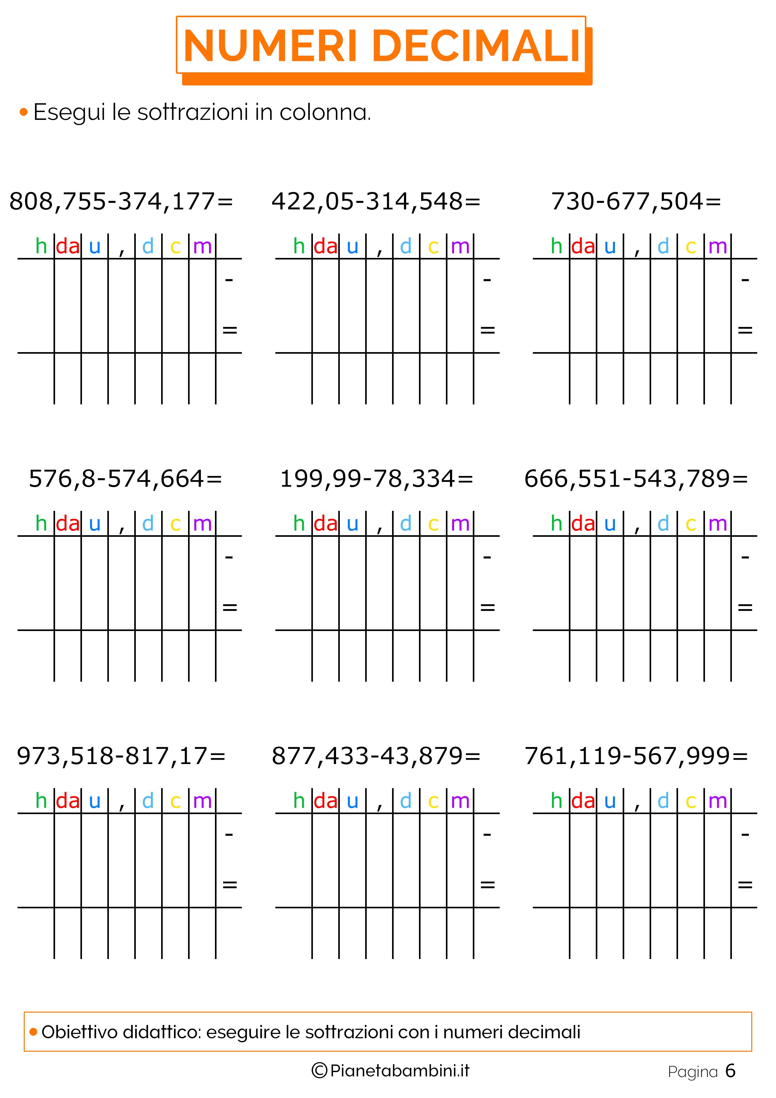 Esercizi sulle sottrazioni con i numeri decimali 6