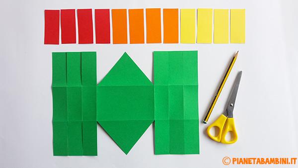 Come ritagliare le fascette colorate per la creazione del cestino pasquale di cartoncino