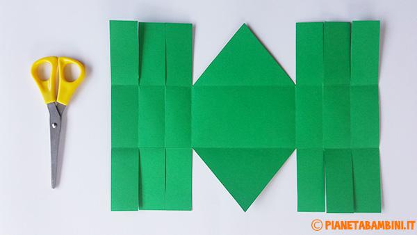 Come ritagliare e piegare il cartoncino per formare il cestino pasquale