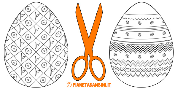 Disegni e sagome di uova di Pasqua da colorare per bambini