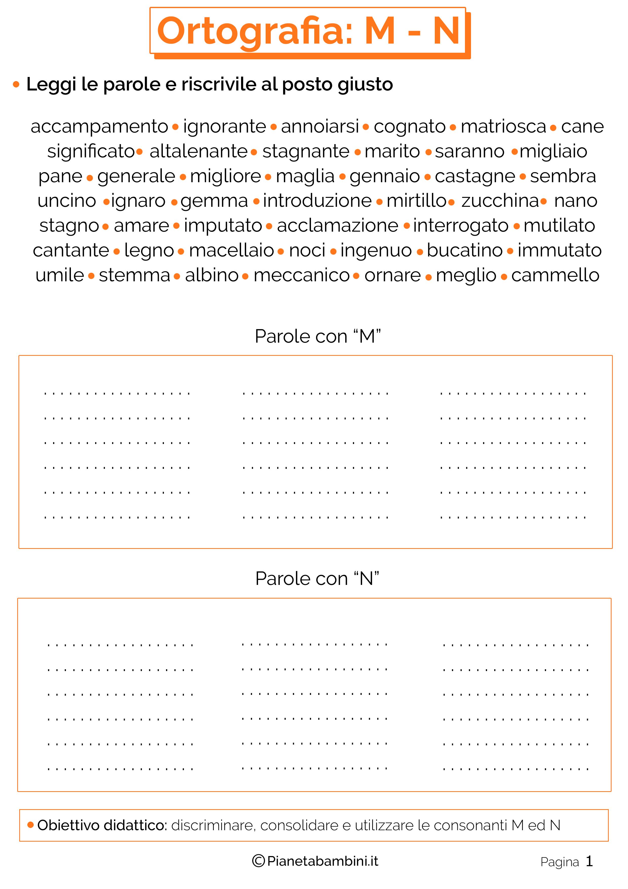 Schede didattiche sui suoni simili M-N pagina 01