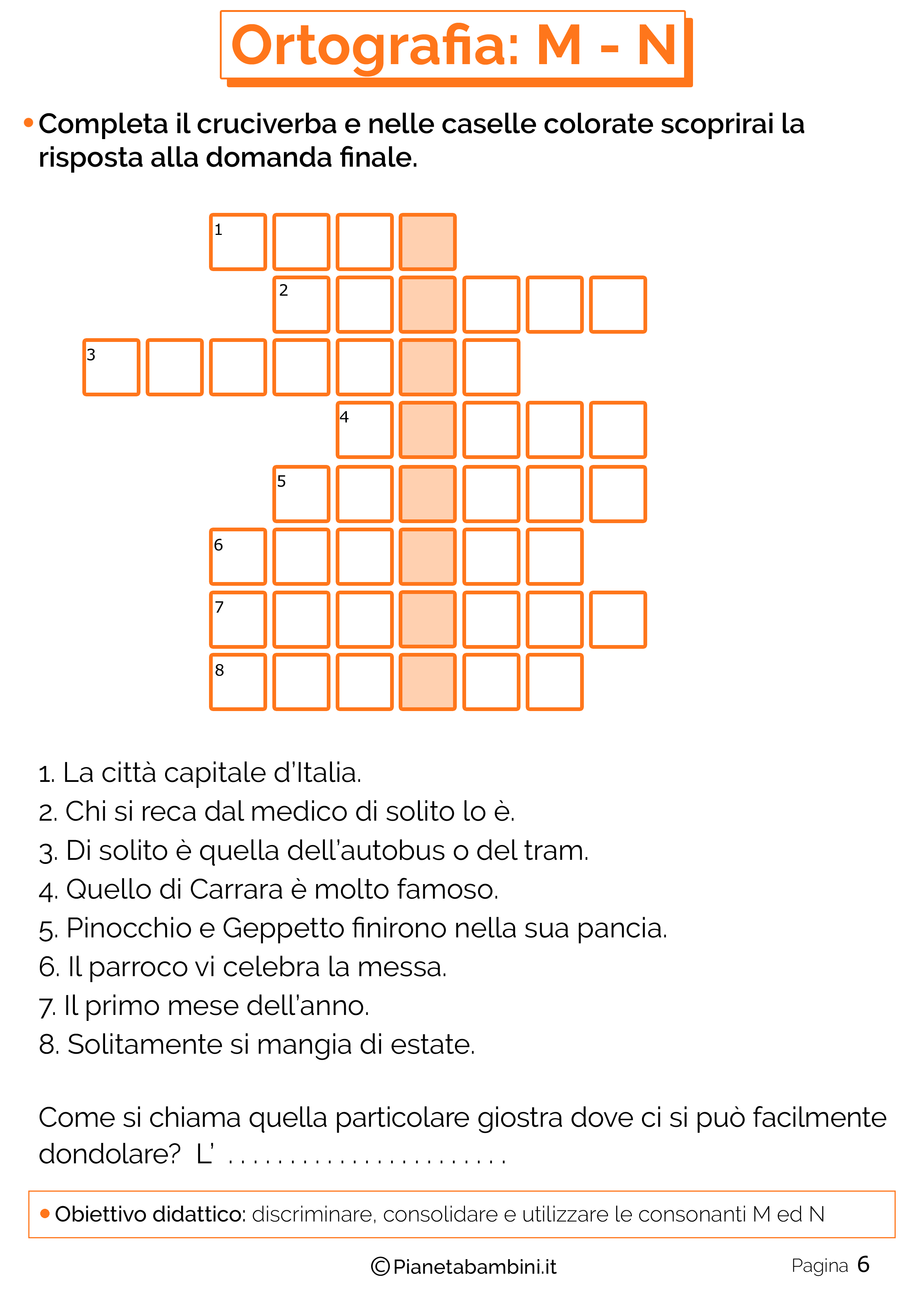 Schede didattiche sui suoni simili M-N pagina 06