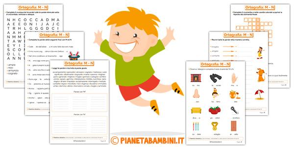 Schede didattiche su M e N per bambini della scuola primaria