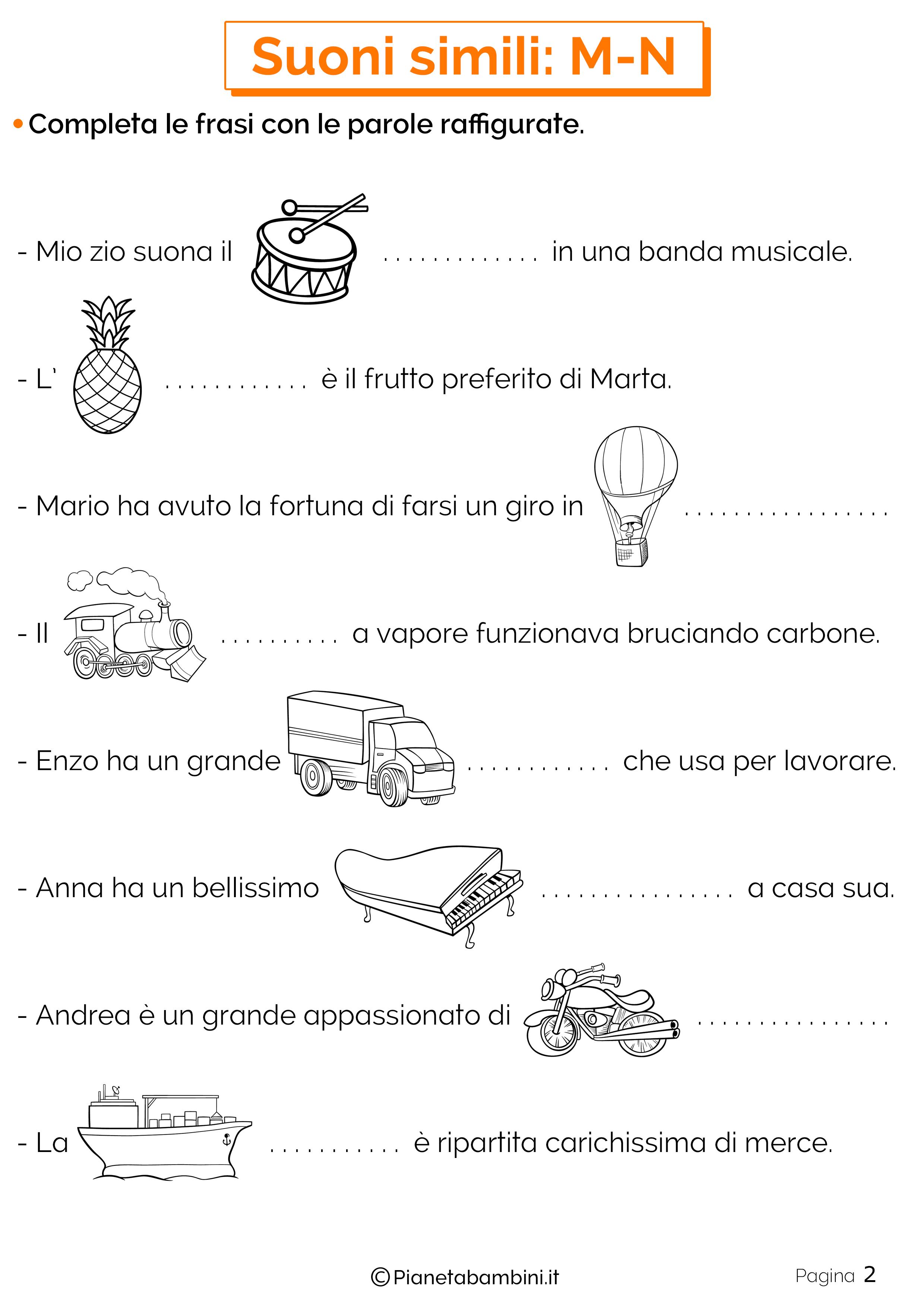 Schede didattiche sui suoni simili M-N pagina 2