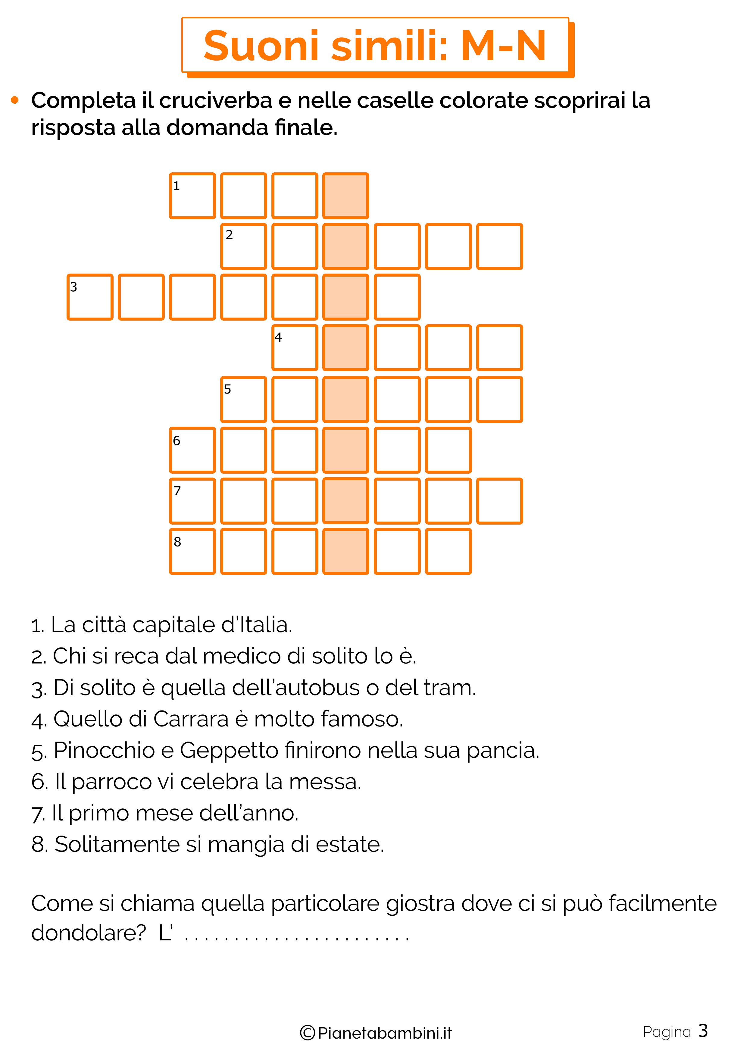 Schede didattiche sui suoni simili M-N pagina 3