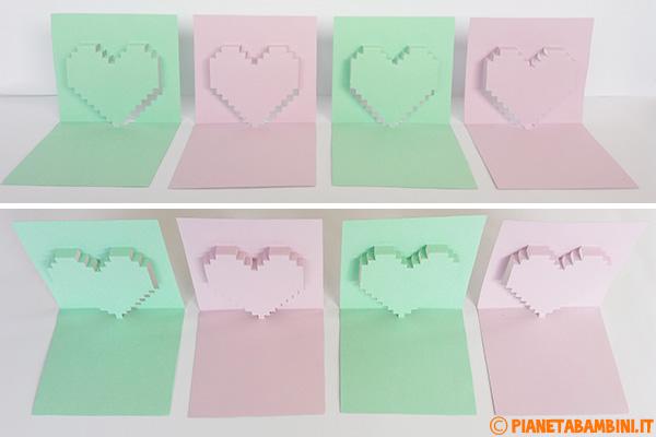 Biglietti pop-up con cuore in diversi colori