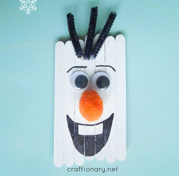 Olaf di Frozen con bastoncini da gelato