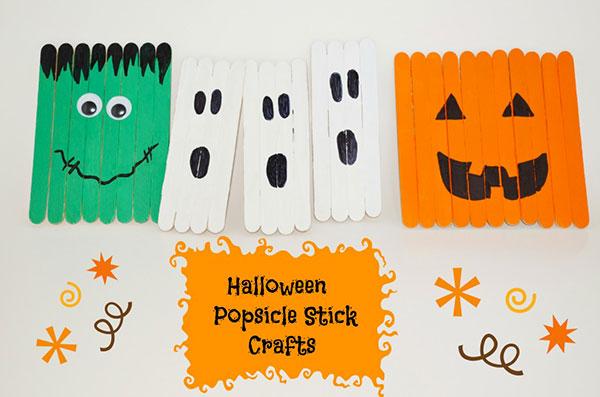 Personaggi di Halloween con bastoncini da gelato