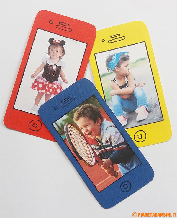 Cellulare di cartoncino con foto per bambini