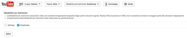 Come attivare la modalità con restrizioni di Youtube