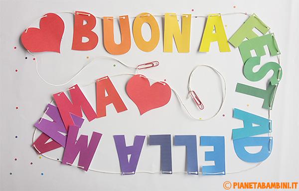 Come passare il filo per unire le lettere dello striscione per la festa della mamma